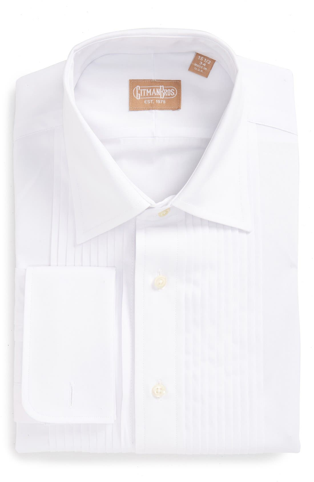 GITMAN, Regular Fit Pleated Dress Shirt, Main thumbnail 1, color, WHITE