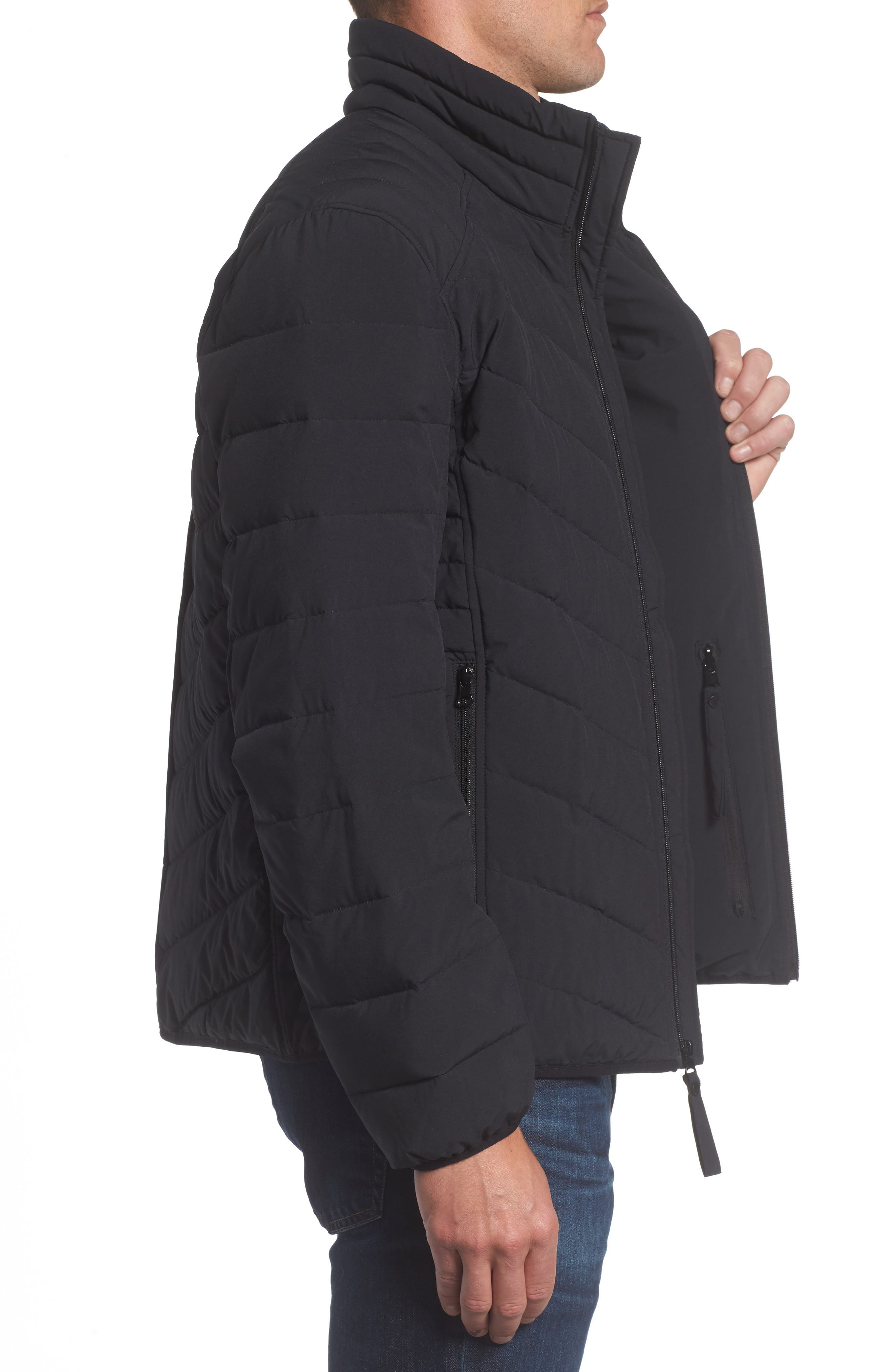 MARC NEW YORK, Bergen Quilted Down Jacket, Alternate thumbnail 4, color, BLACK
