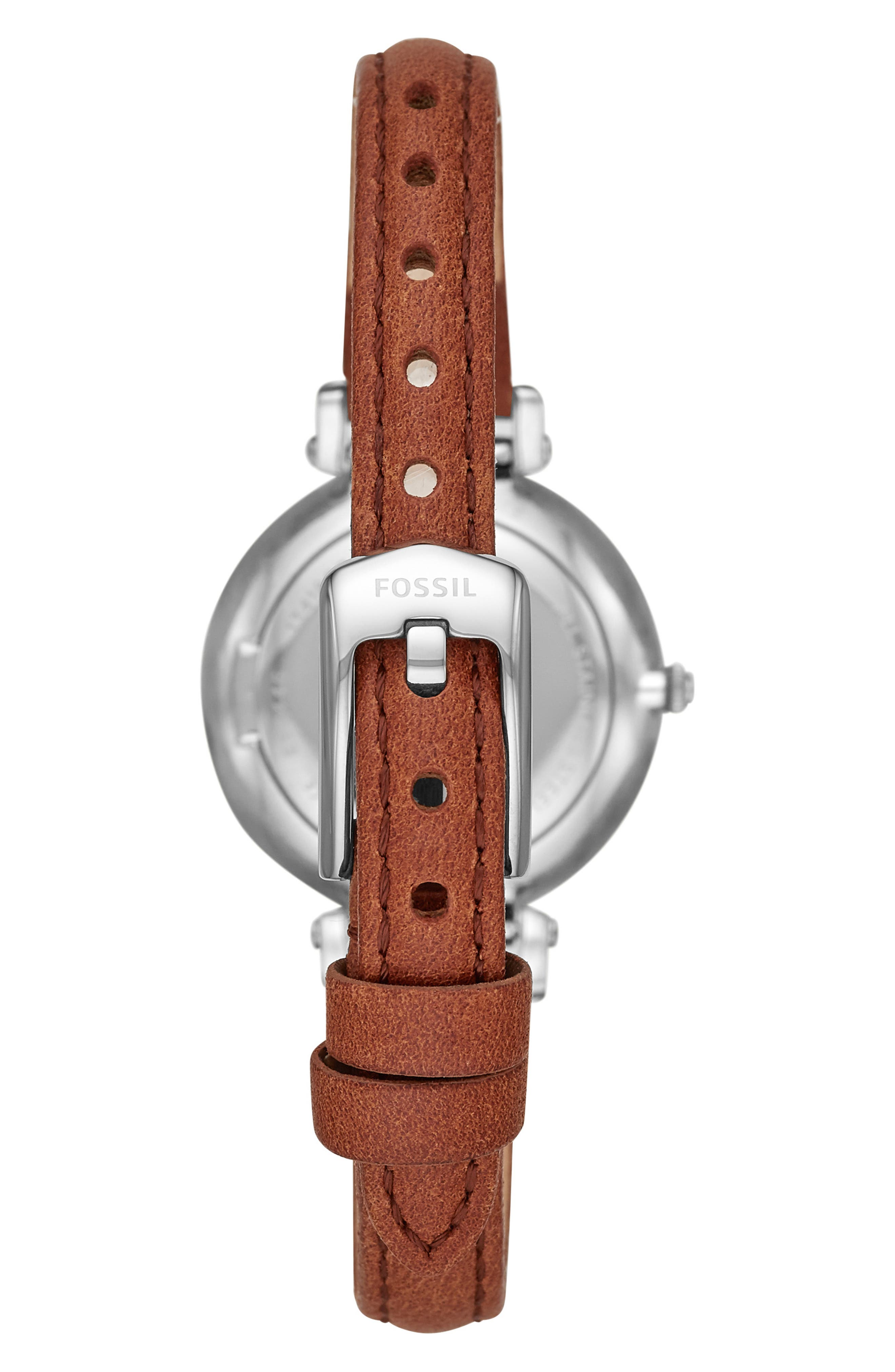 FOSSIL, Kinsey Leather Strap Watch, 28mm, Alternate thumbnail 2, color, BROWN/ SILVER