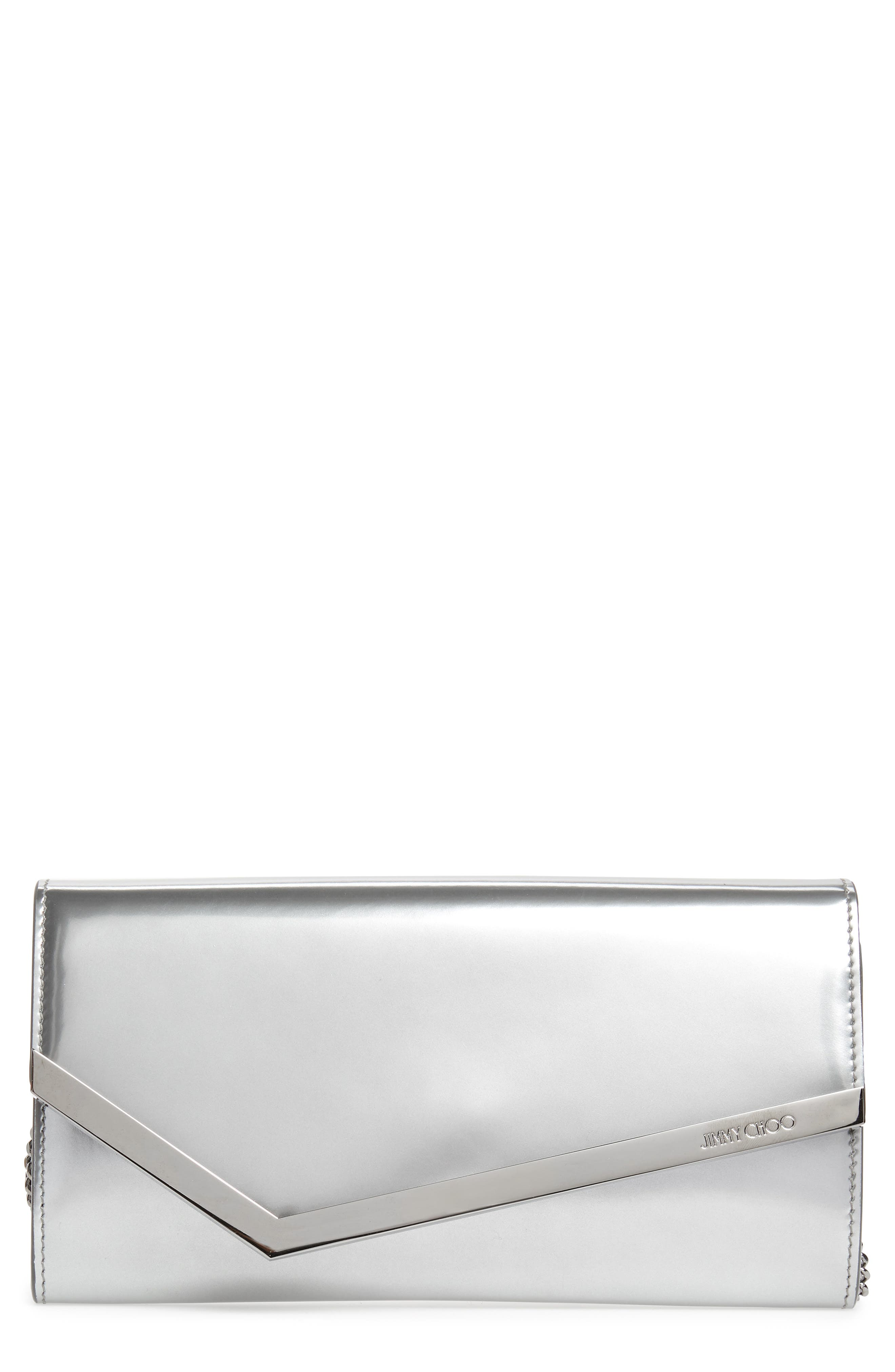 JIMMY CHOO, Emmie Metallic Leather Clutch, Main thumbnail 1, color, SILVER