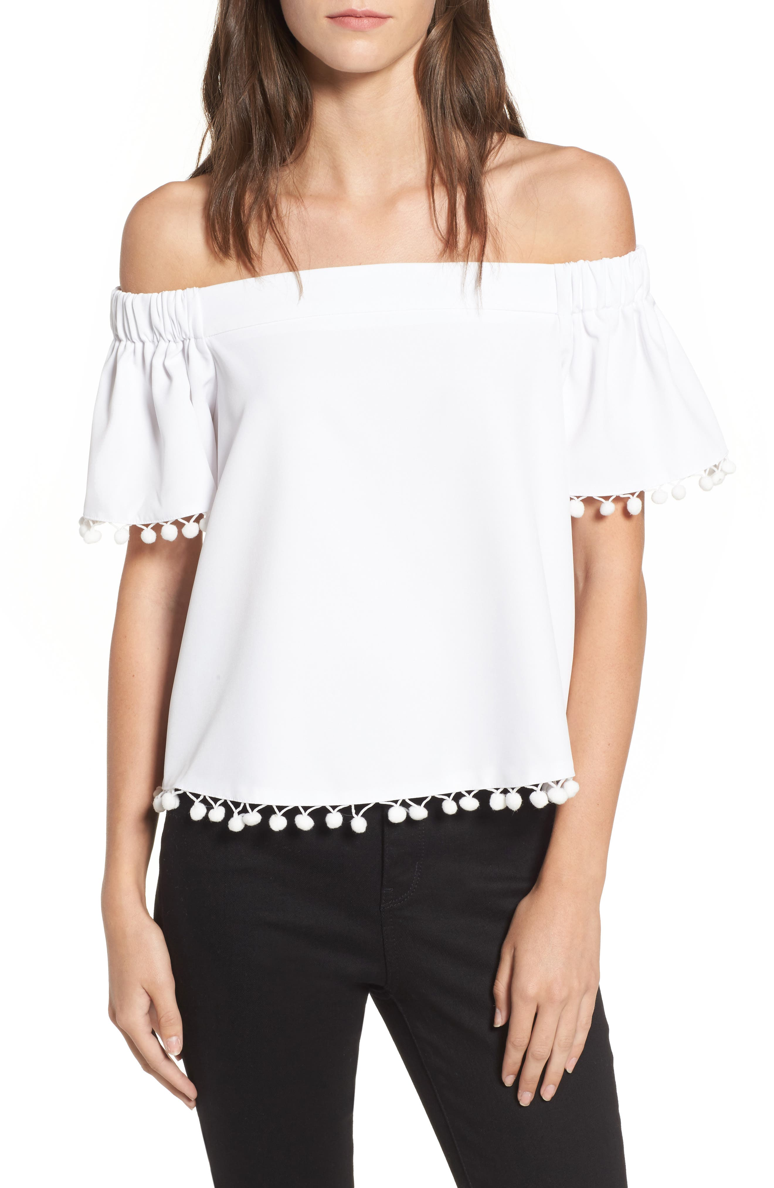 WILLOW & CLAY, Pompom Off the Shoulder Top, Main thumbnail 1, color, 106