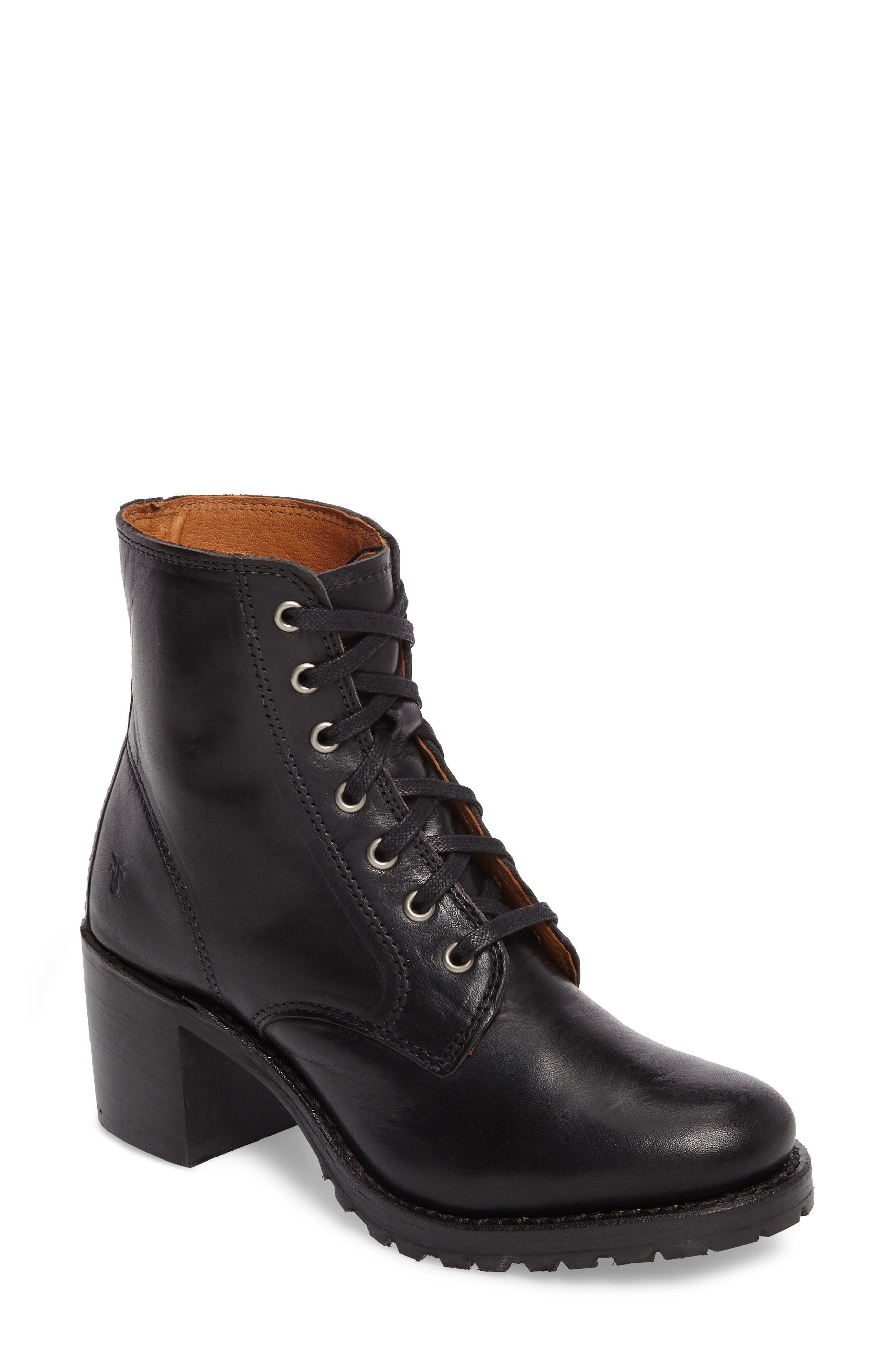 FRYE, Sabrina 6G Lace-Up Boot, Main thumbnail 1, color, BLACK