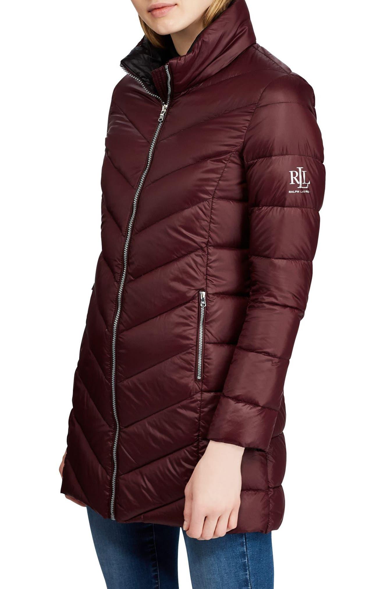 LAUREN RALPH LAUREN Long Quilted Packable Coat, Main, color, BURGUNDY