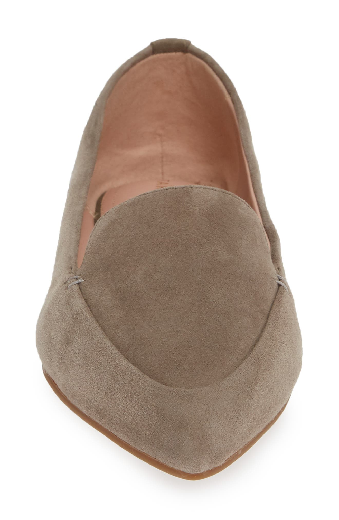 TARYN ROSE, Faye Pointy Toe Loafer, Alternate thumbnail 4, color, CLAY SUEDE