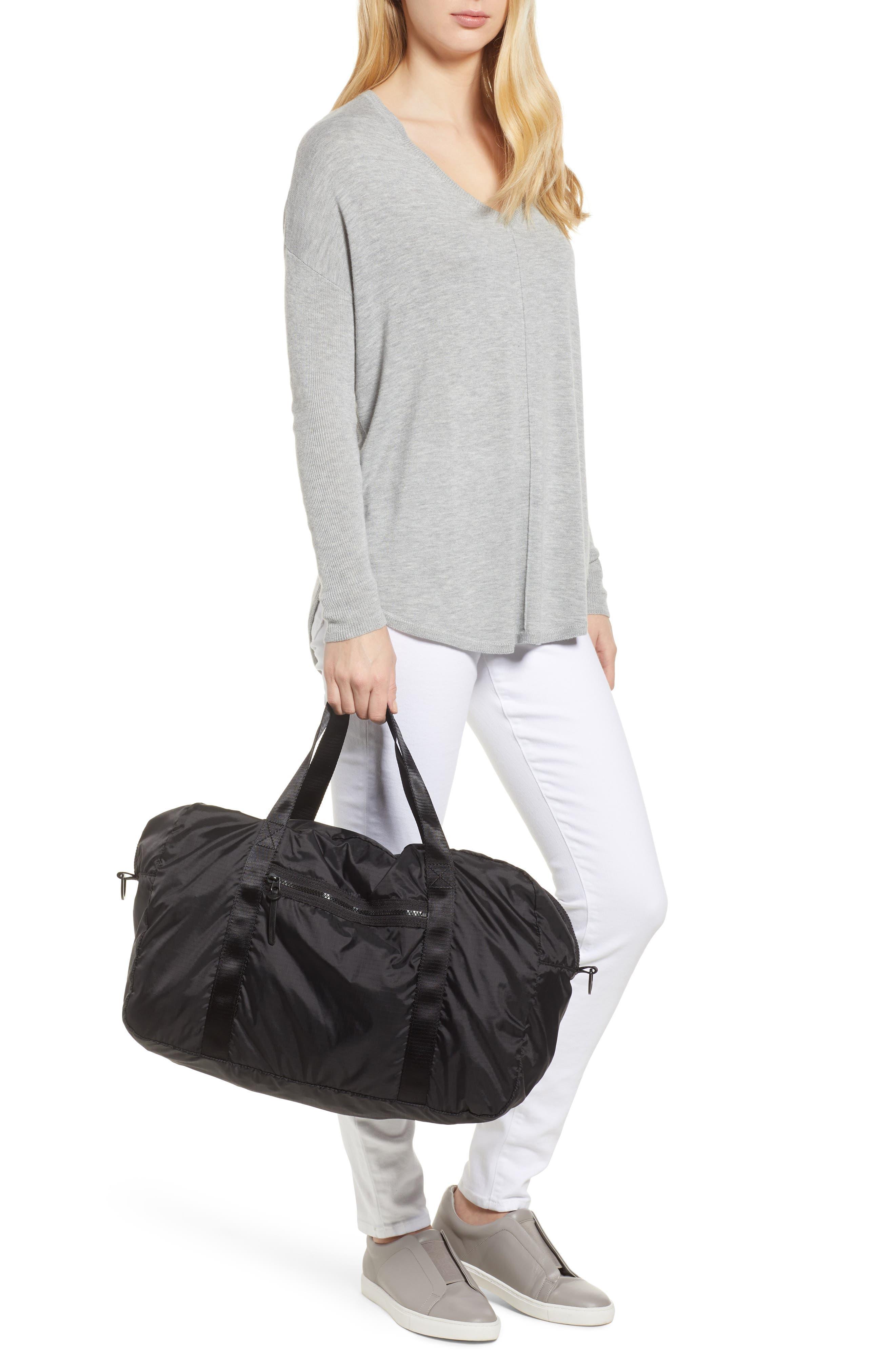 NORDSTROM, Packable Nylon Duffel Bag, Alternate thumbnail 2, color, BLACK