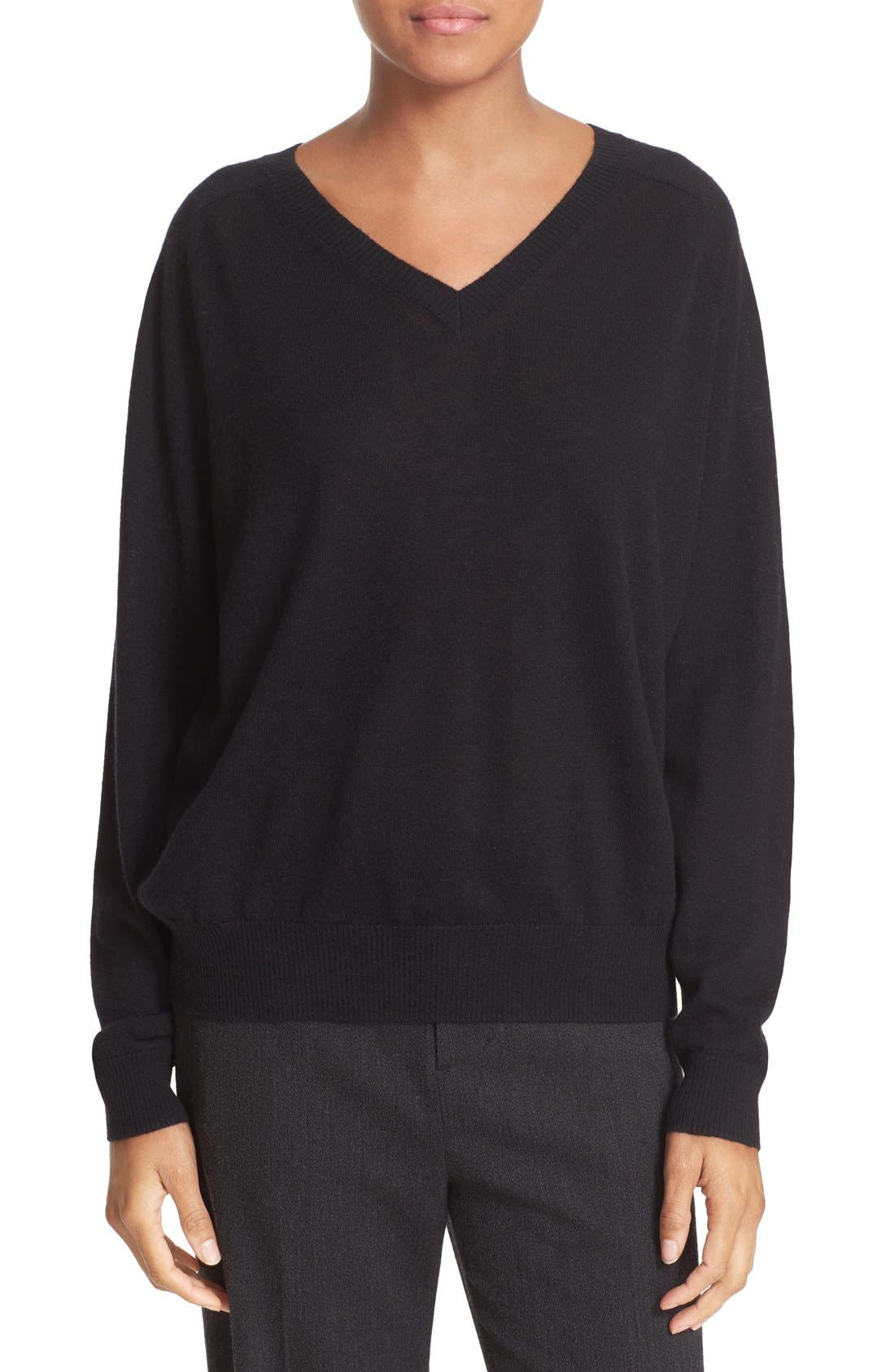 VINCE, Relaxed Cashmere V-Neck Sweater, Main thumbnail 1, color, 001