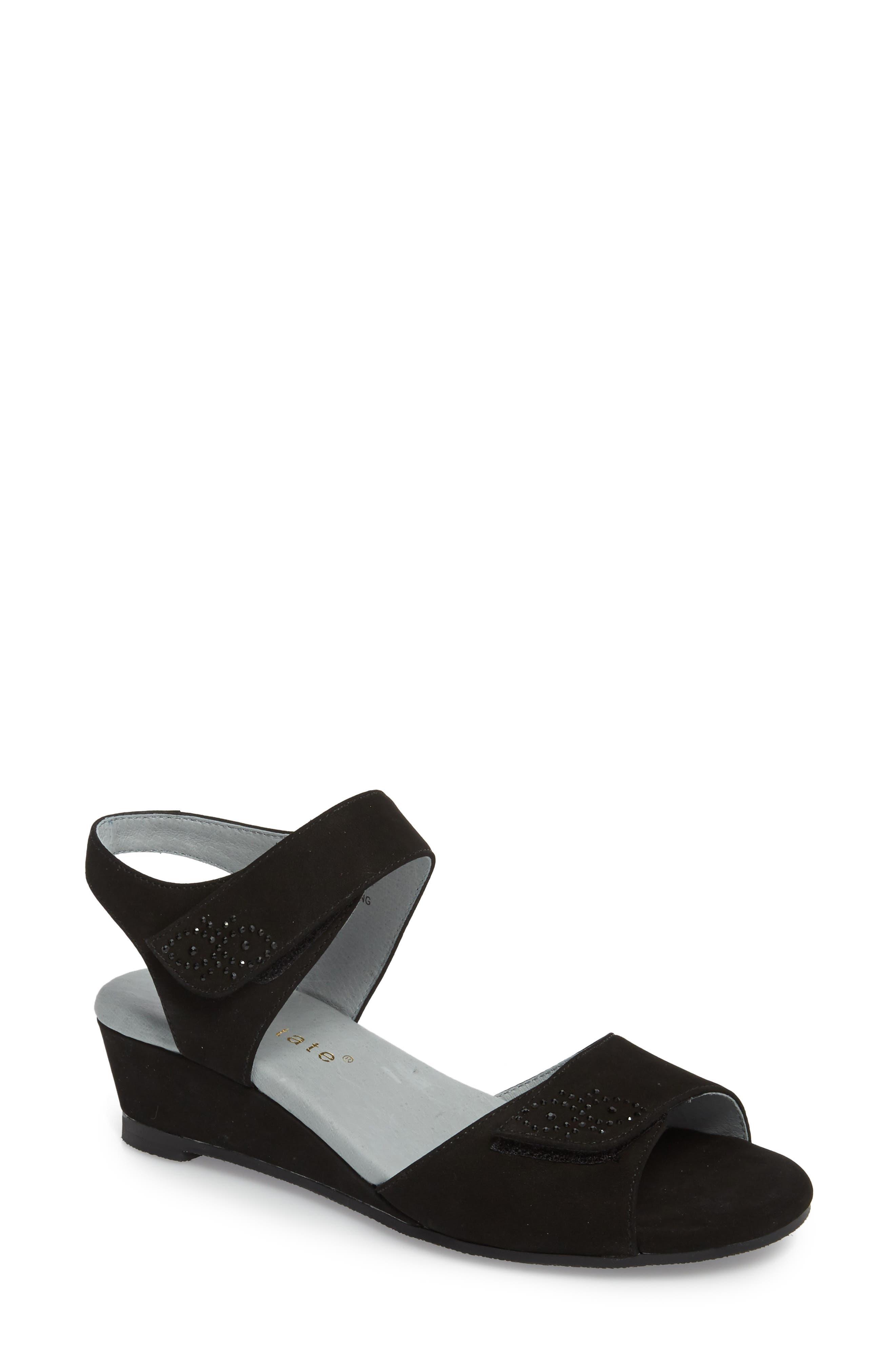 DAVID TATE, Queen Embellished Wedge Sandal, Main thumbnail 1, color, BLACK NUBUCK