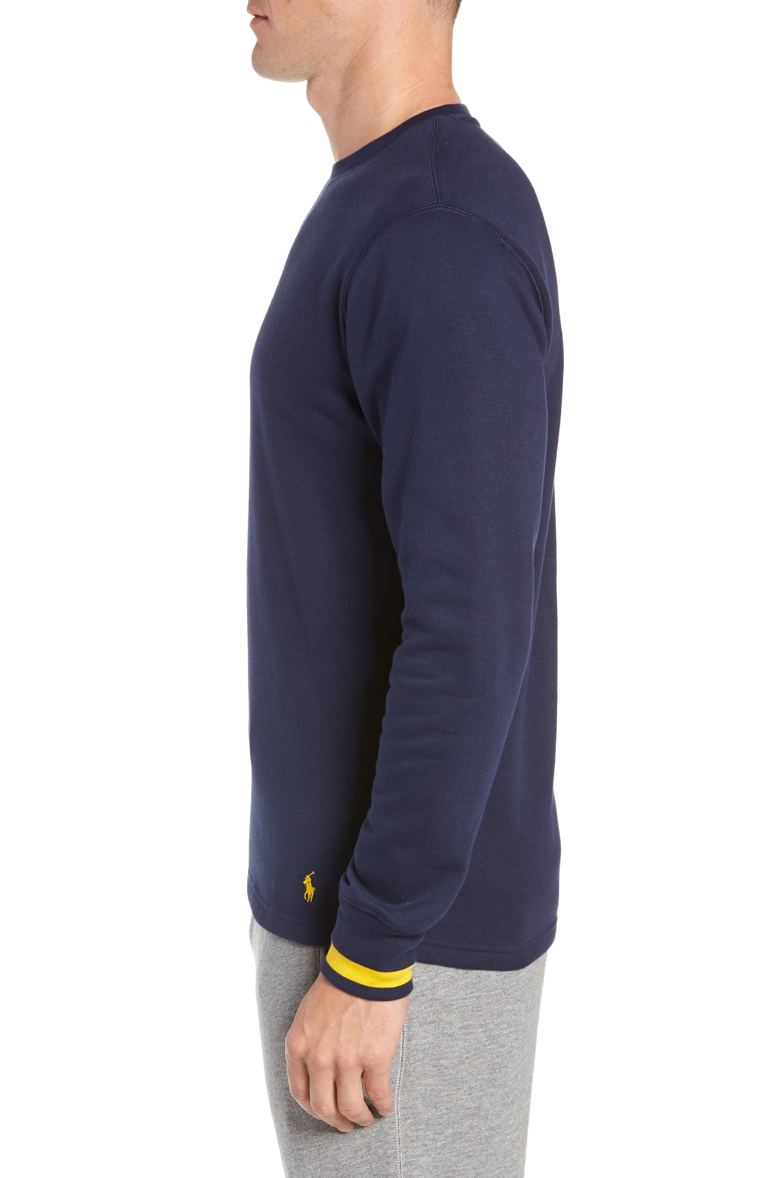 POLO RALPH LAUREN, Brushed Jersey Cotton Blend Crewneck Sweatshirt, Alternate thumbnail 3, color, CRUISE NAVY