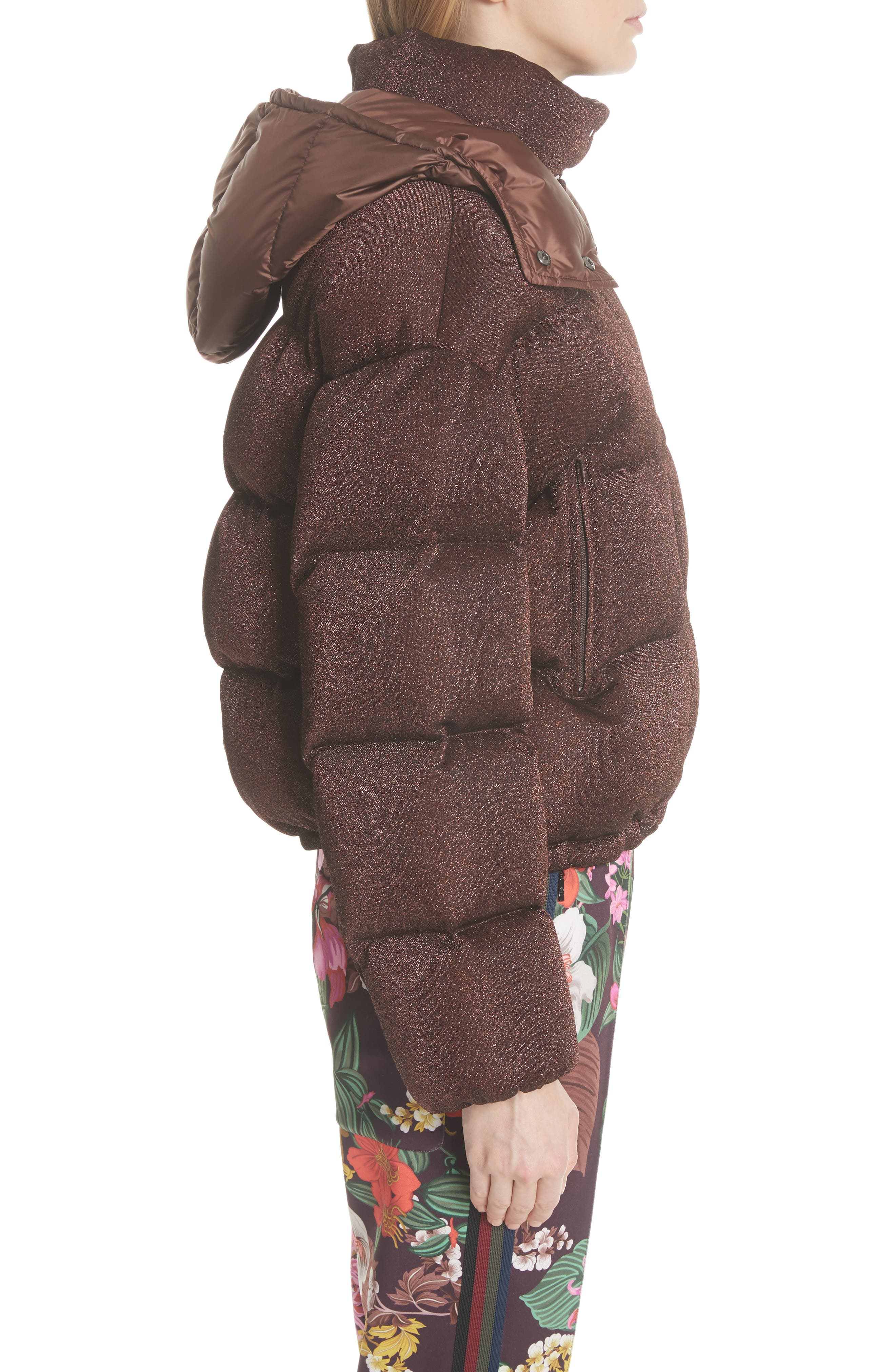 MONCLER, Caille Metallic Quilted Down Jacket, Alternate thumbnail 4, color, 224