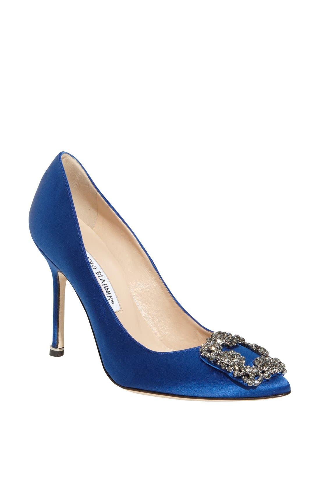MANOLO BLAHNIK, 'Hangisi' Jewel Pump, Main thumbnail 1, color, BLUE SATIN