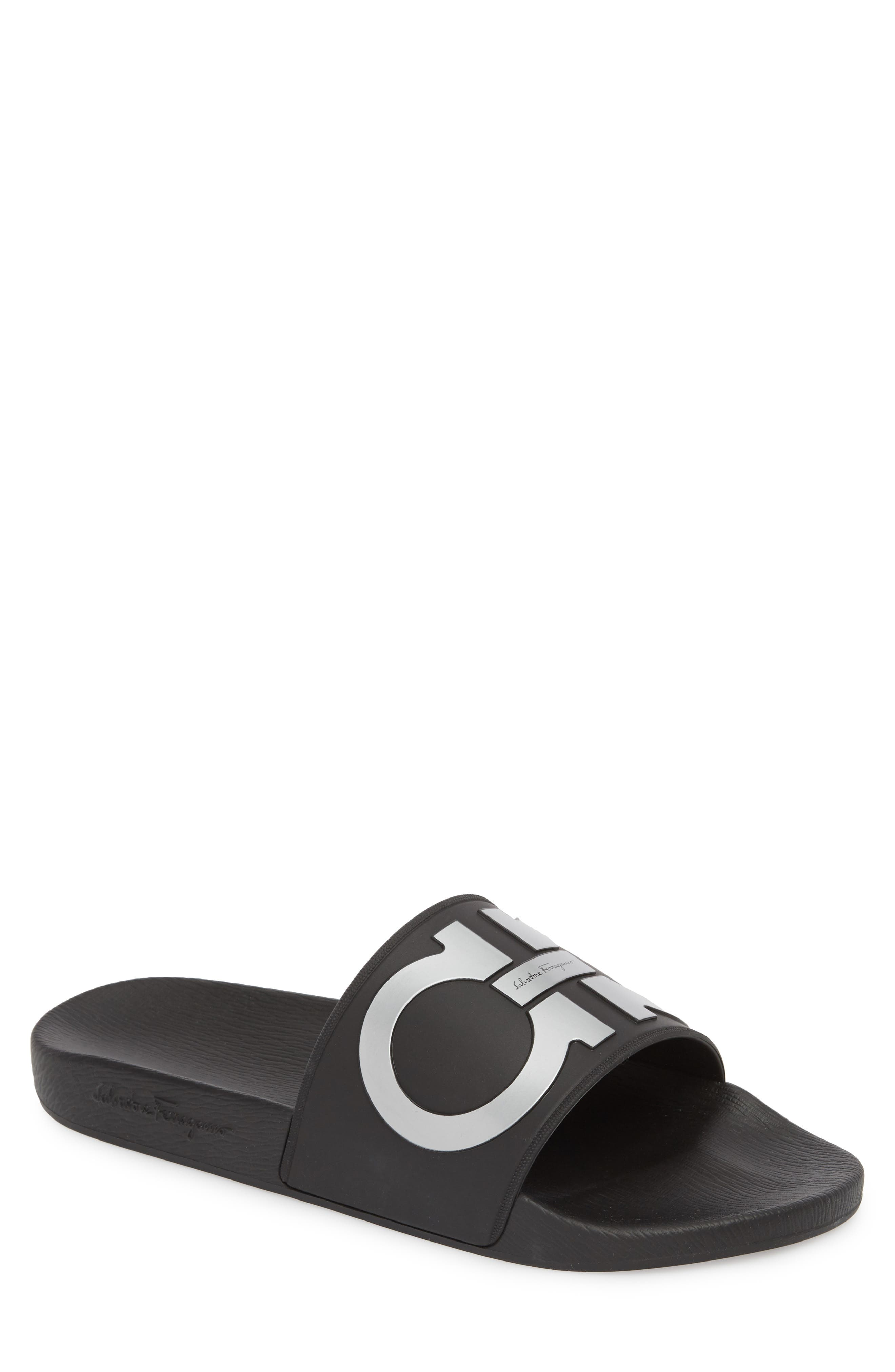 SALVATORE FERRAGAMO Groove 2 Sport Slide Sandal, Main, color, NERO/ SILVER