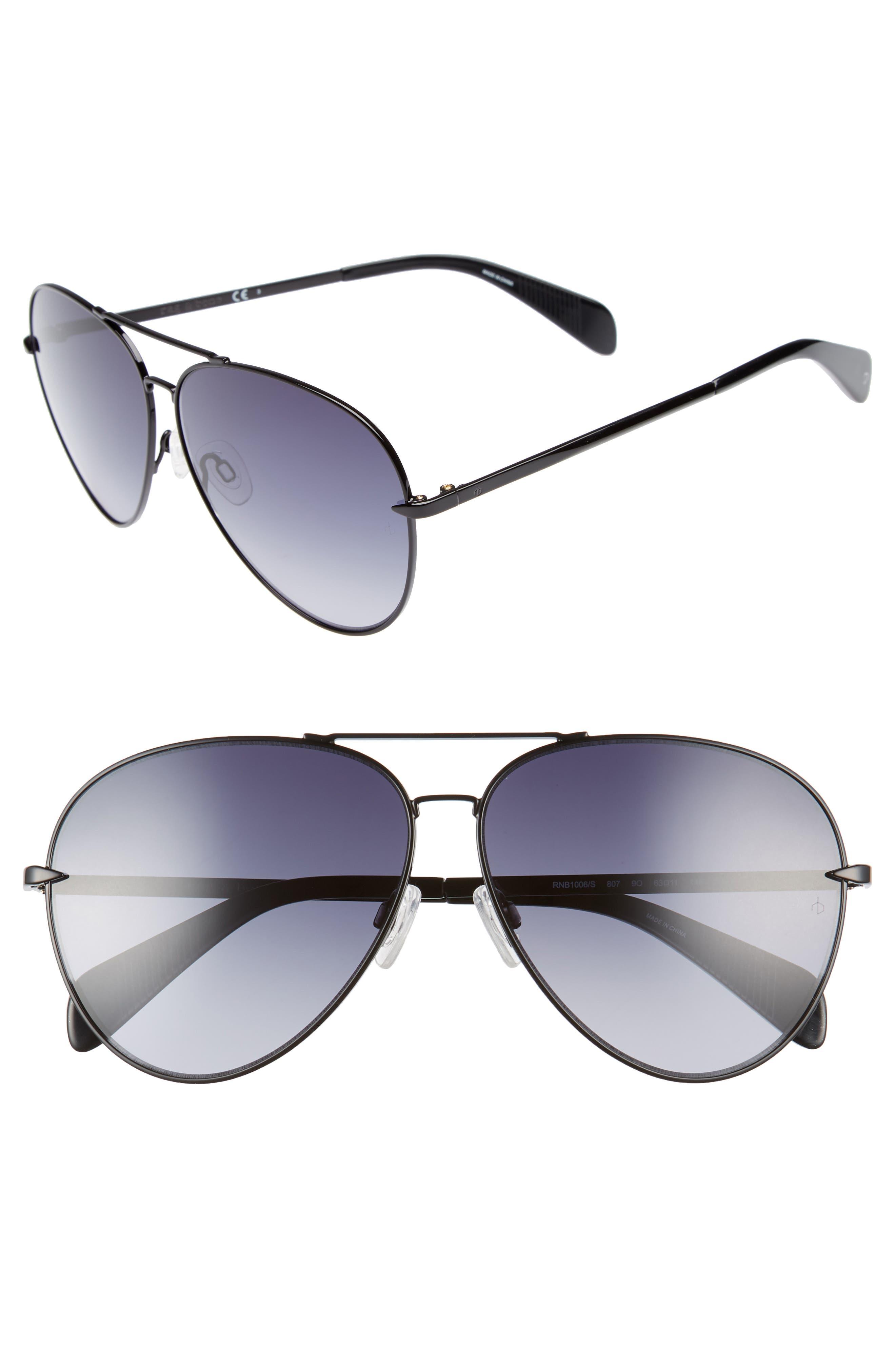 RAG & BONE 63mm Oversize Aviator Sunglasses, Main, color, BLACK