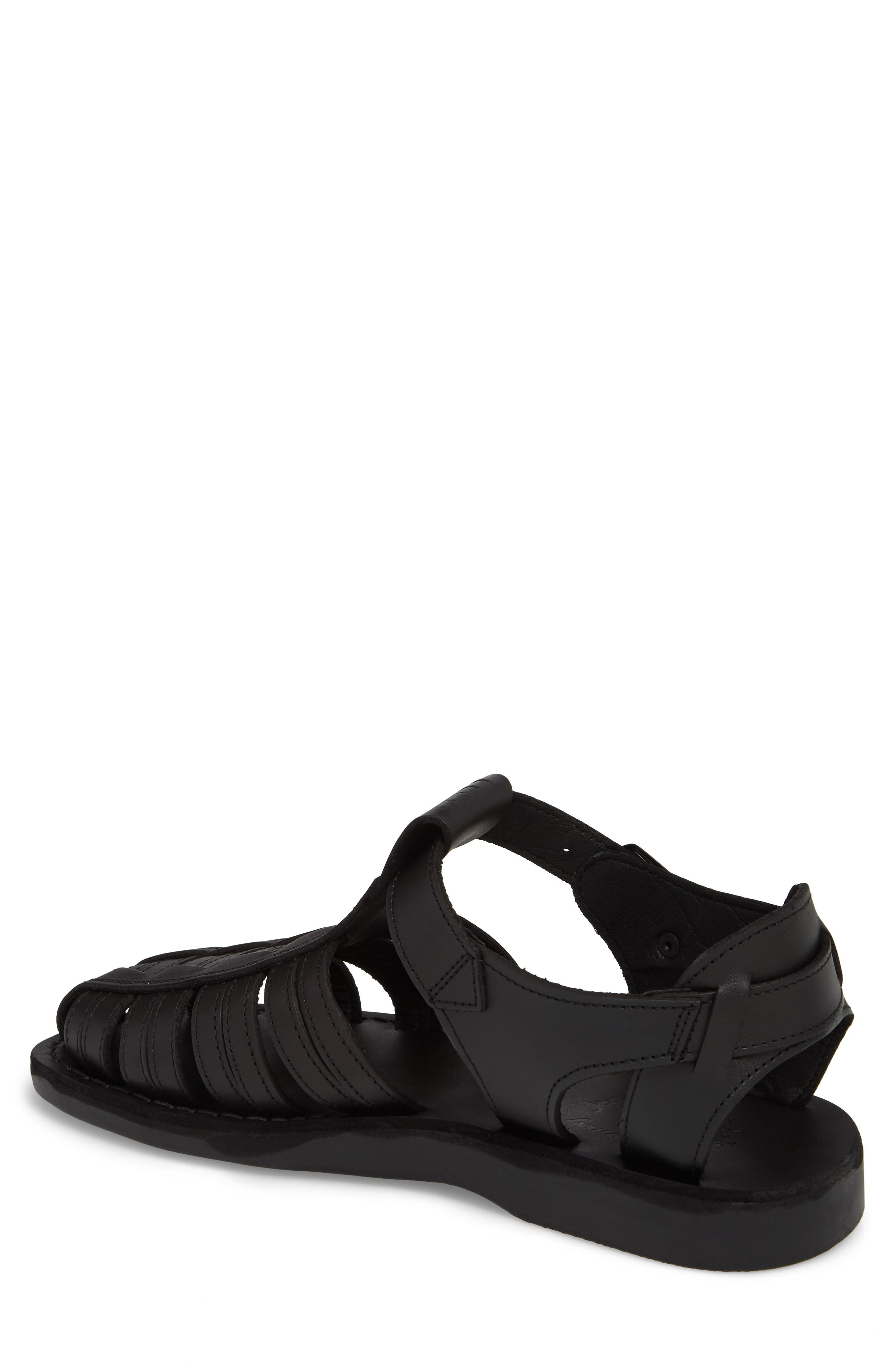JERUSALEM SANDALS, Barak Fisherman Sandal, Alternate thumbnail 2, color, BLACK LEATHER
