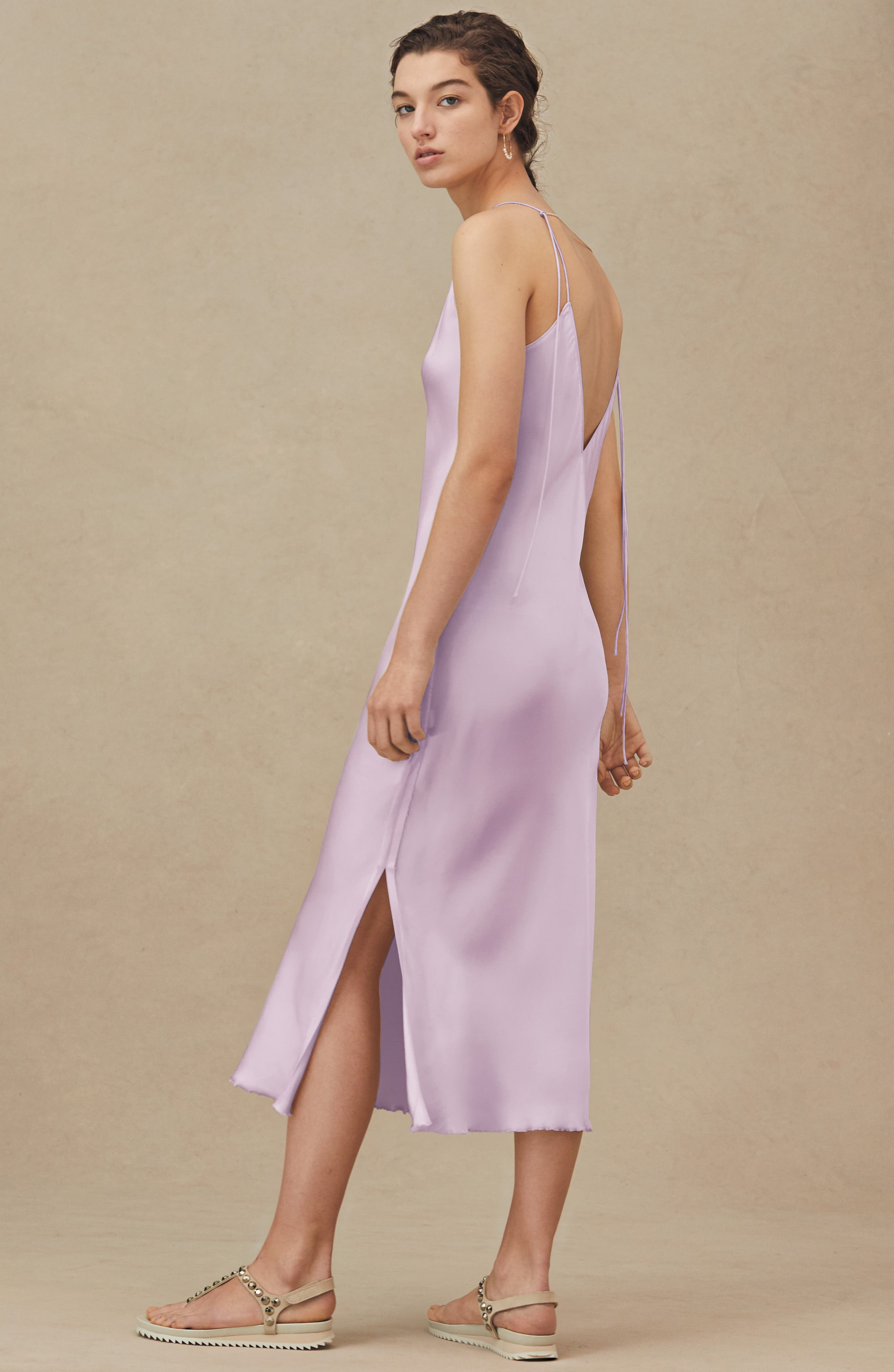 HELMUT LANG, Raw Detail Slipdress, Alternate thumbnail 8, color, LAVENDER