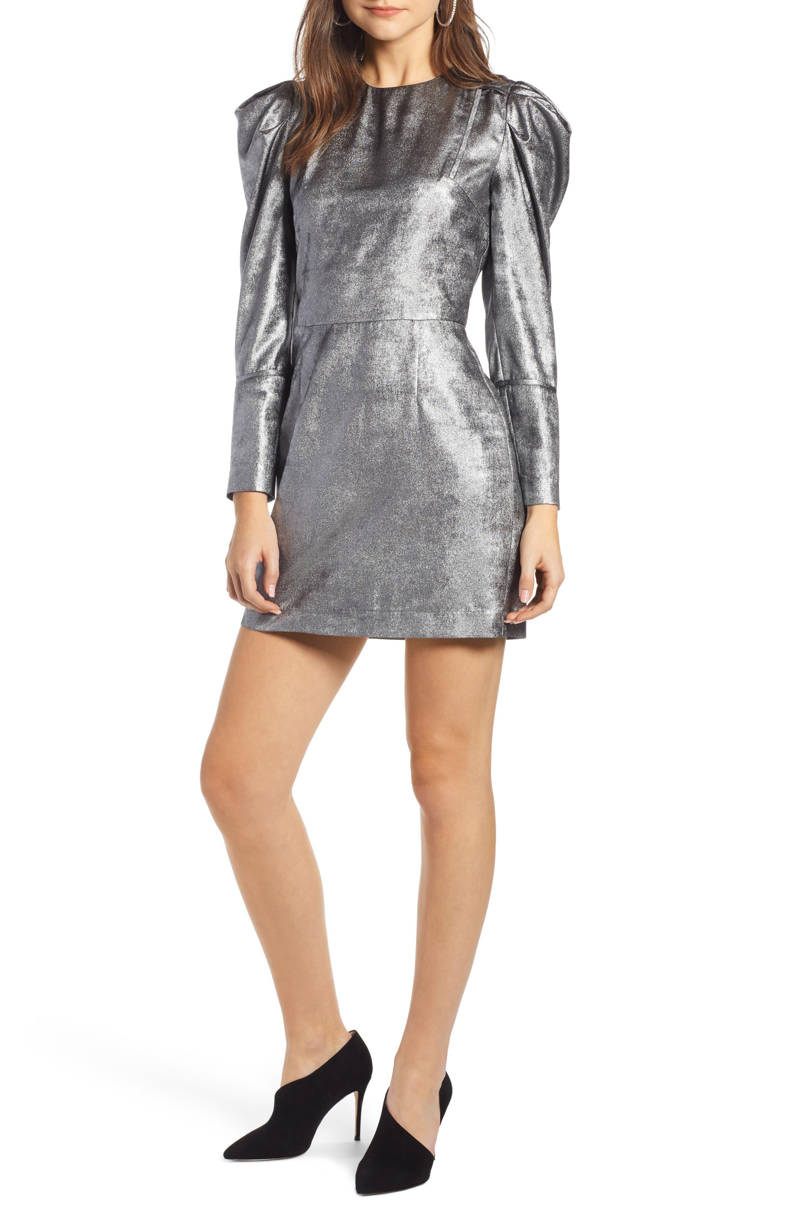 SOMETHING NAVY Foil Minidress, Main, color, 040