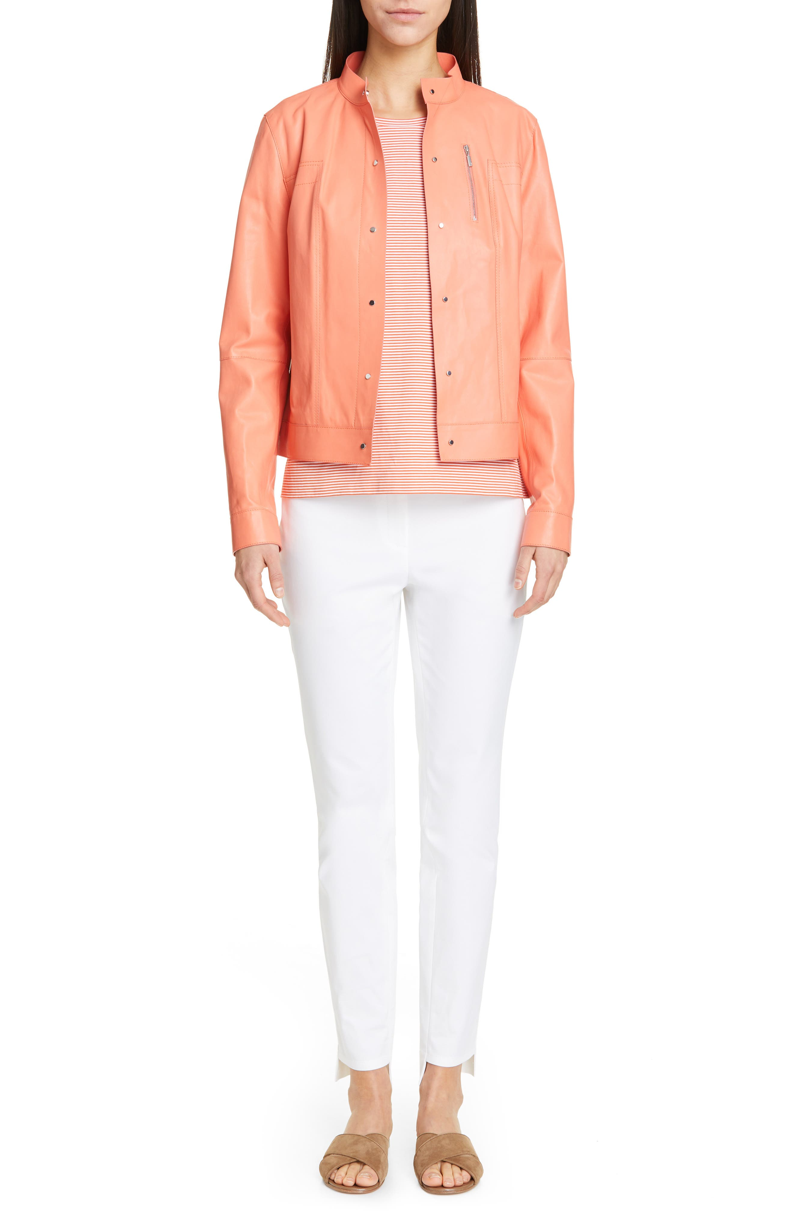 LAFAYETTE 148 NEW YORK, Galicia Leather Jacket, Alternate thumbnail 7, color, PEACH ROSE