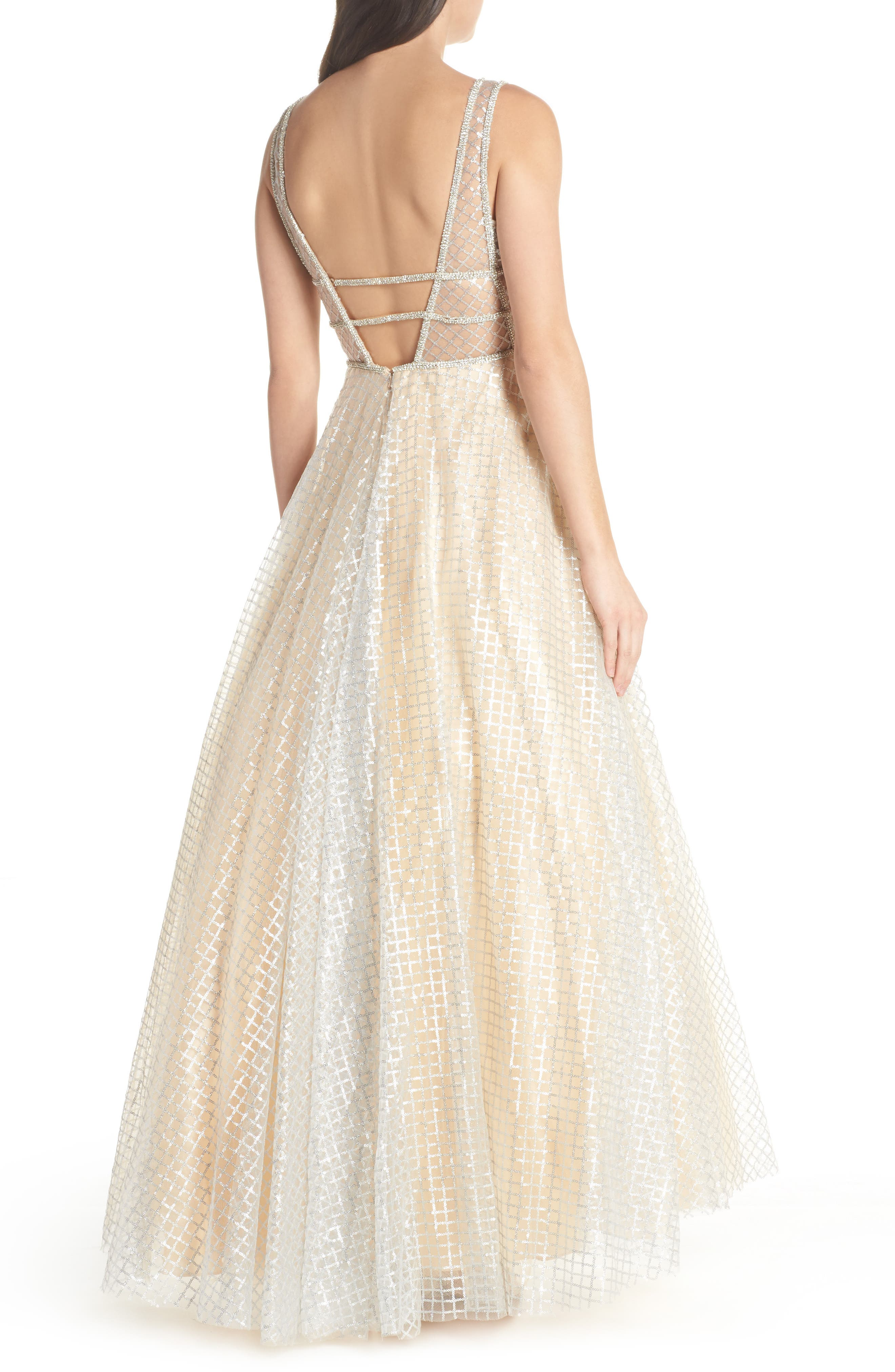 MAC DUGGAL, Sequin Illusion Neck Gown, Alternate thumbnail 2, color, NUDE/ SILVER