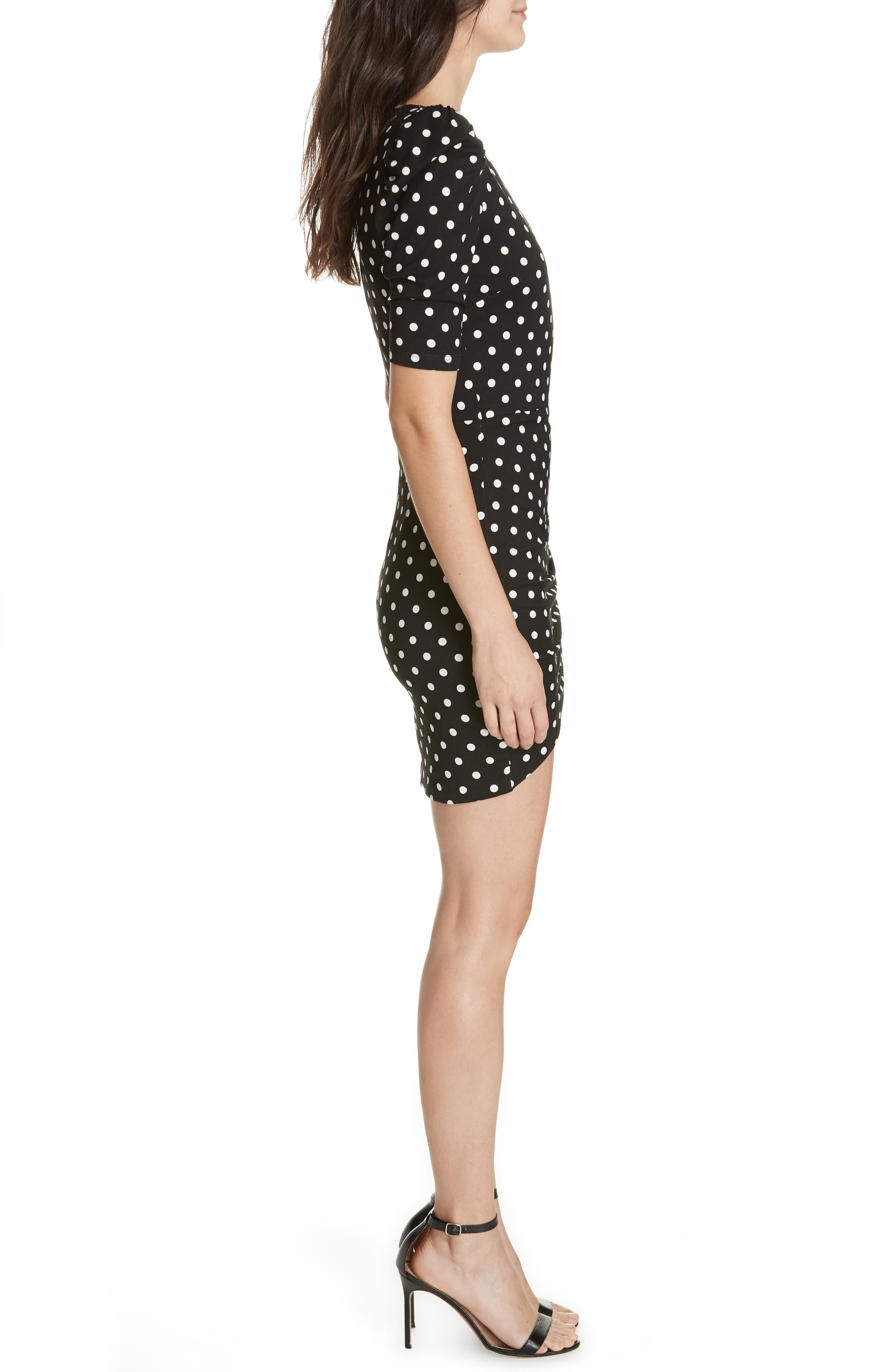 ALICE + OLIVIA, Judy Ruched Faux Wrap Dress, Alternate thumbnail 3, color, 001