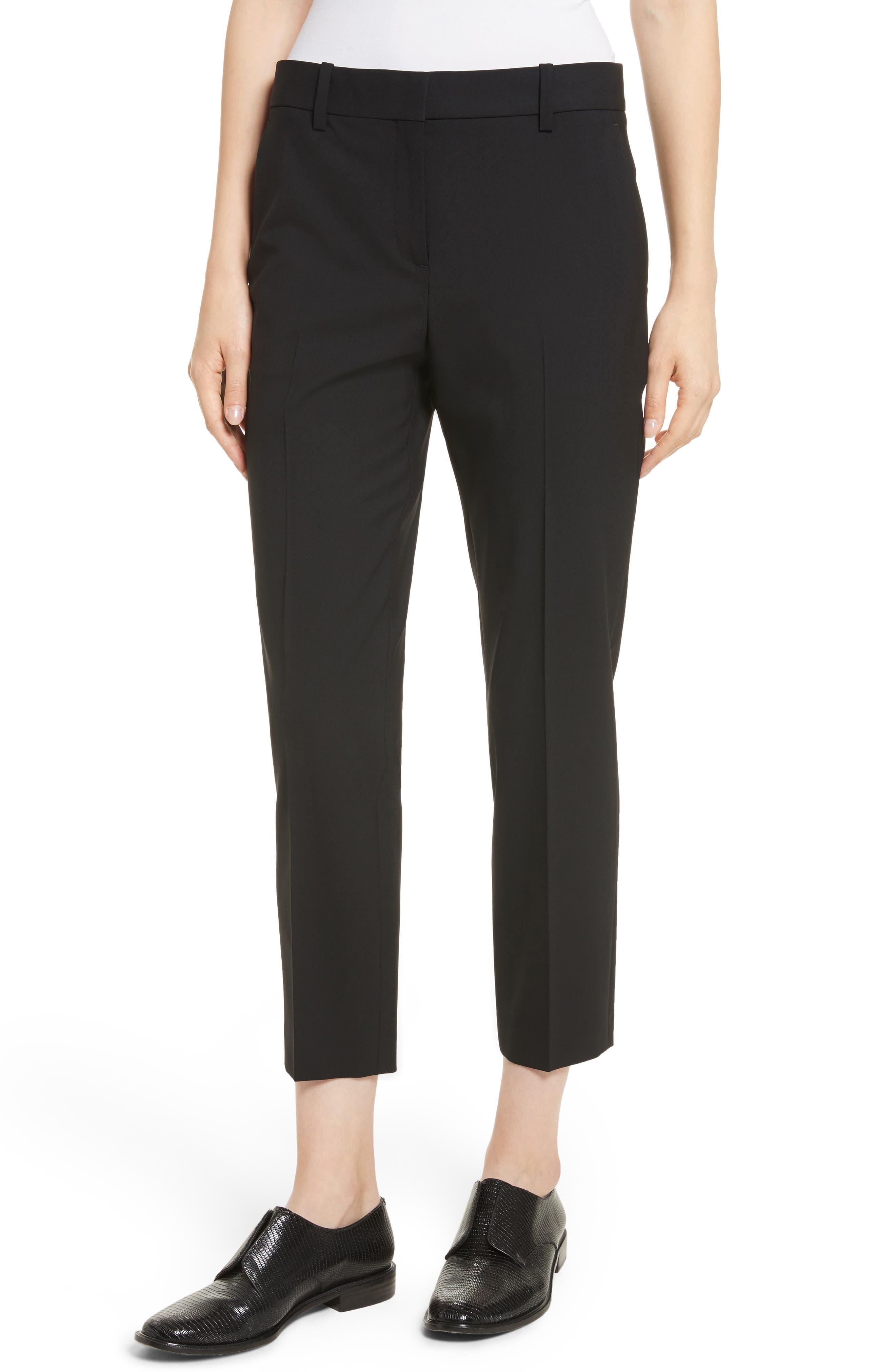THEORY, Treeca 2 Good Wool Crop Suit Pants, Main thumbnail 1, color, BLACK