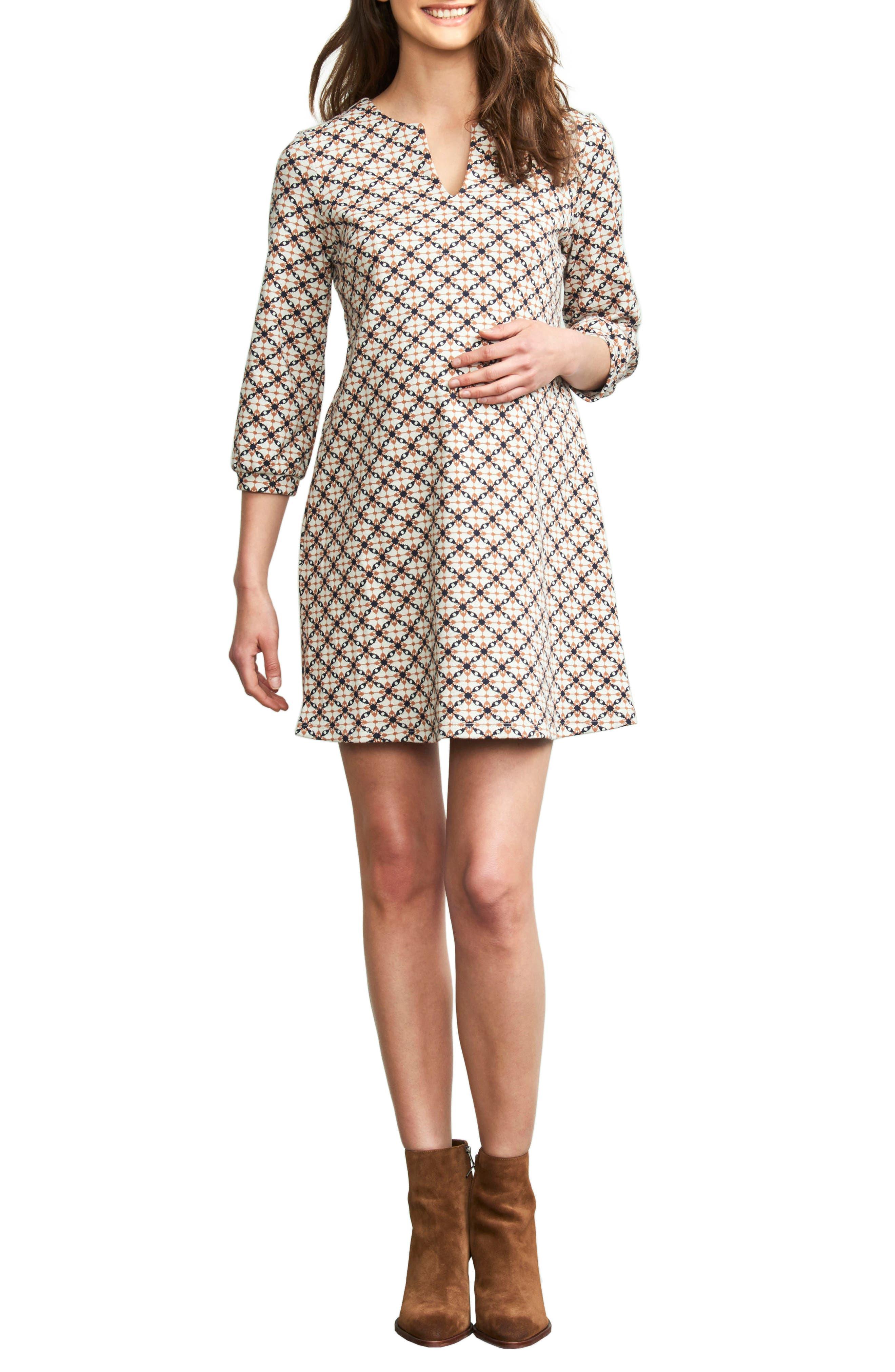 MATERNAL AMERICA, 'Vintage Pearls' Maternity Dress, Main thumbnail 1, color, JACQUARD