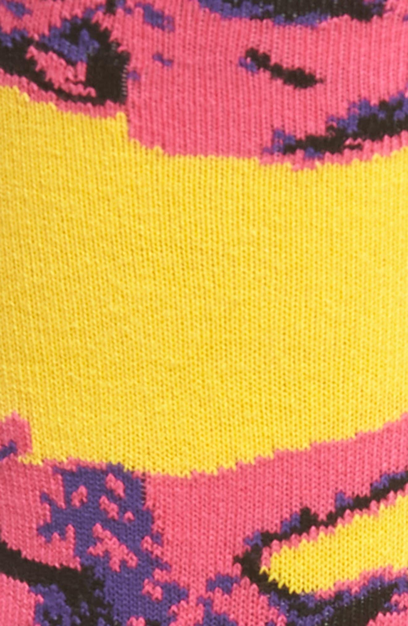 HAPPY SOCKS, Andy Warhol Cow Socks, Alternate thumbnail 2, color, PINK/ YELLOW