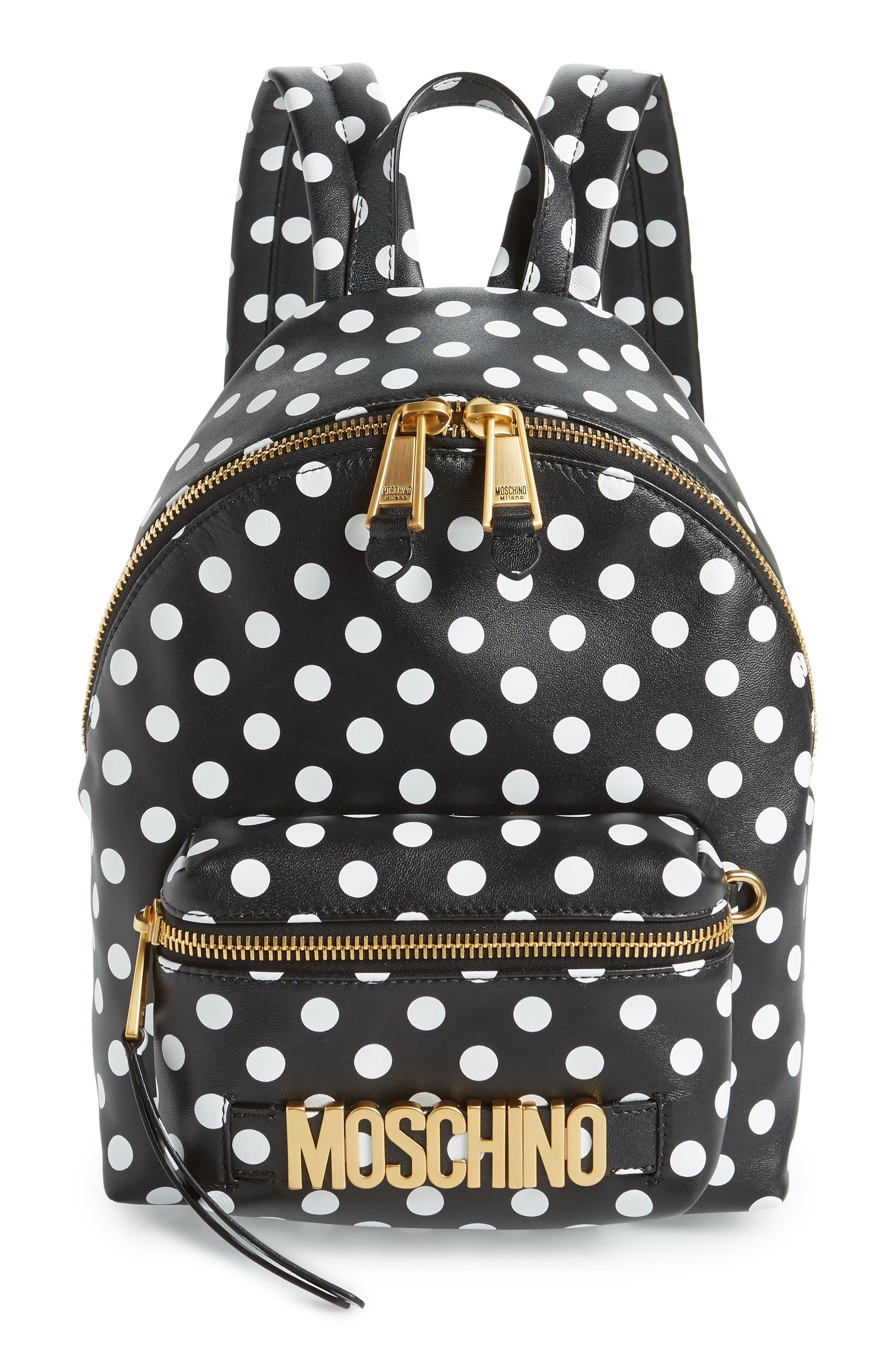 MOSCHINO, Logo Polka Dot Backpack, Main thumbnail 1, color, BLACK/ WHITE