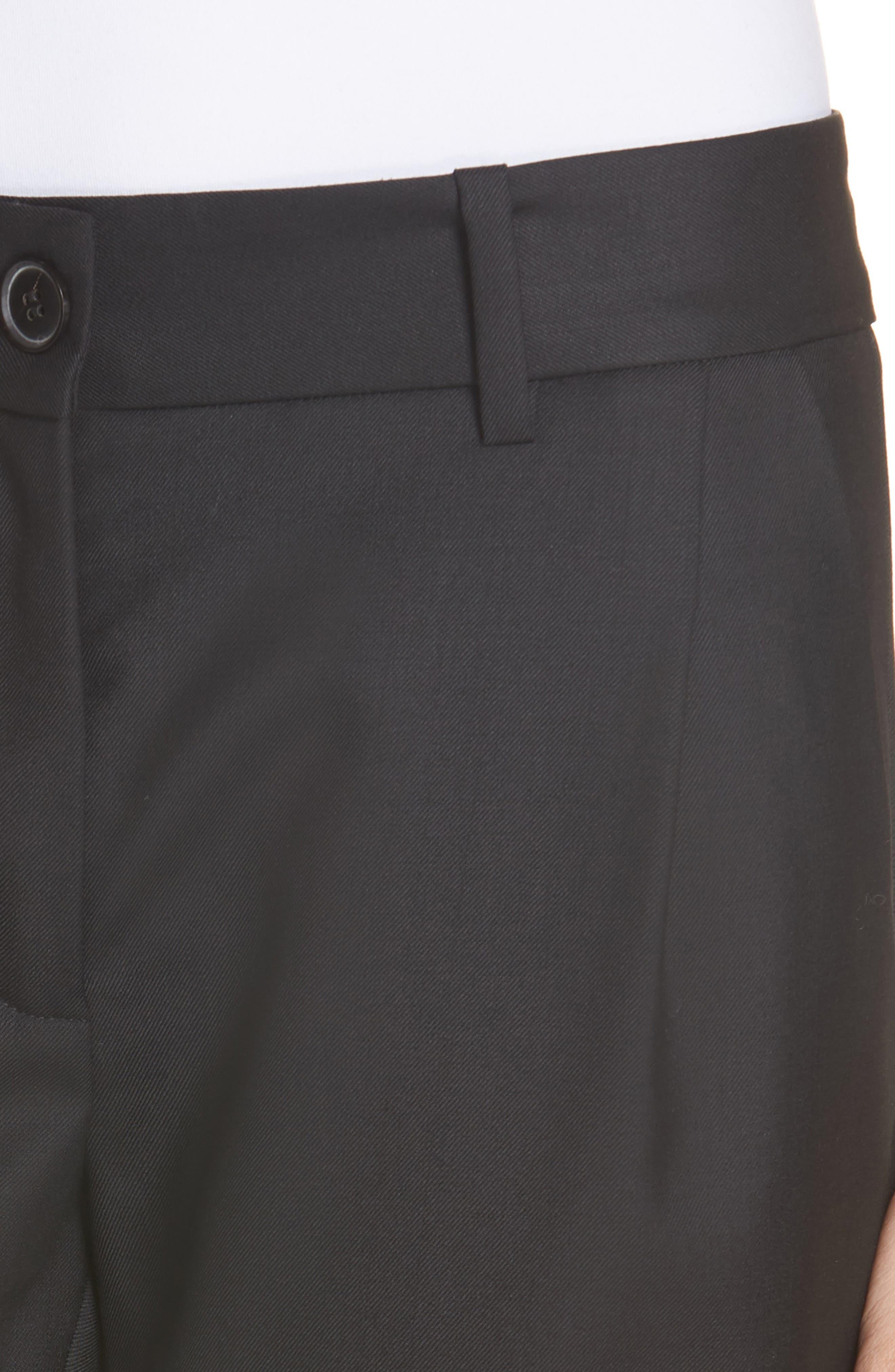 NILI LOTAN, Bertina Pleated Wool Crop Pants, Alternate thumbnail 5, color, BLACK