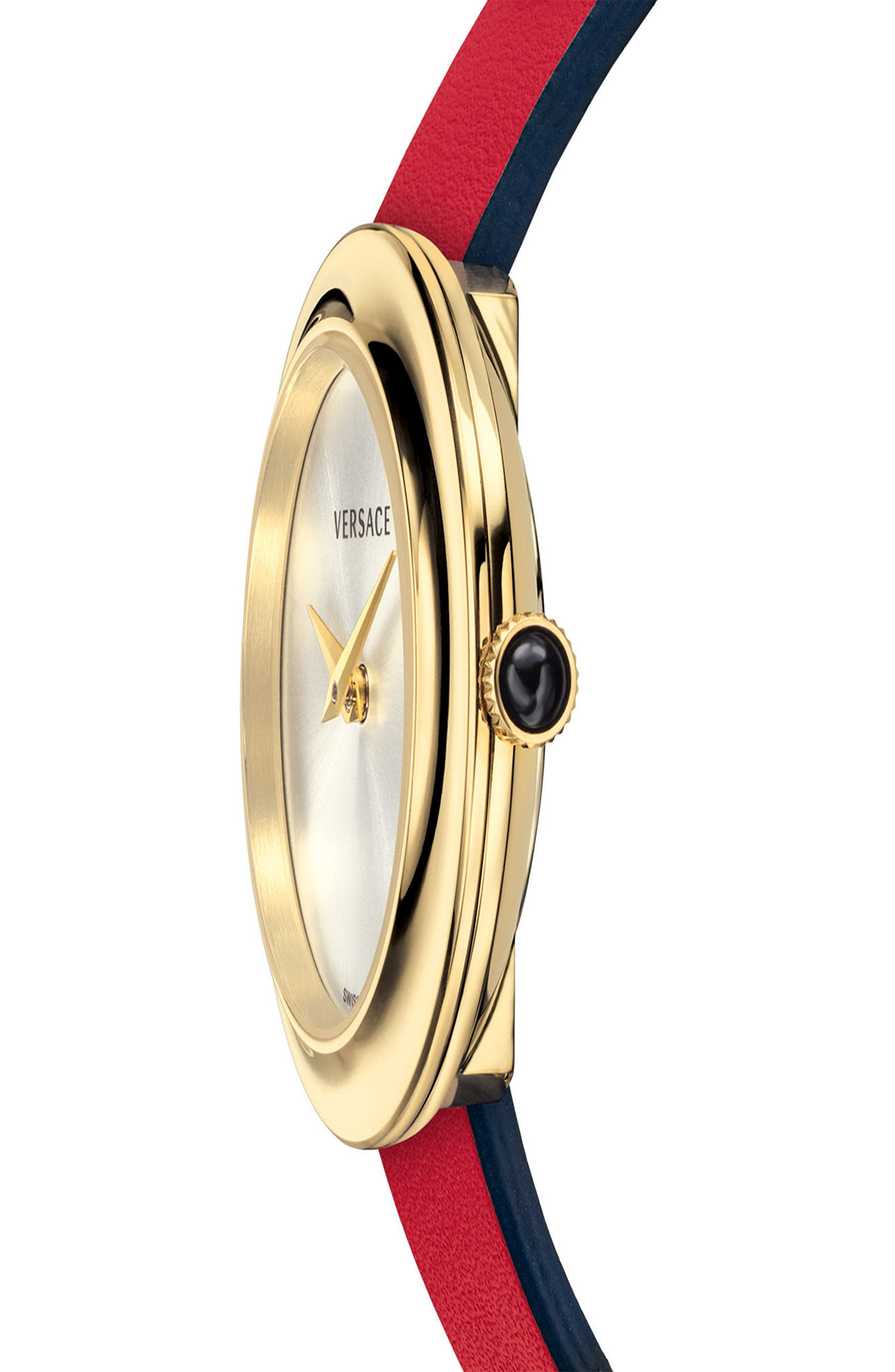 VERSACE, V-Flare Double Wrap Leather Strap Watch, 28mm, Alternate thumbnail 4, color, RED/ SILVER/ GOLD