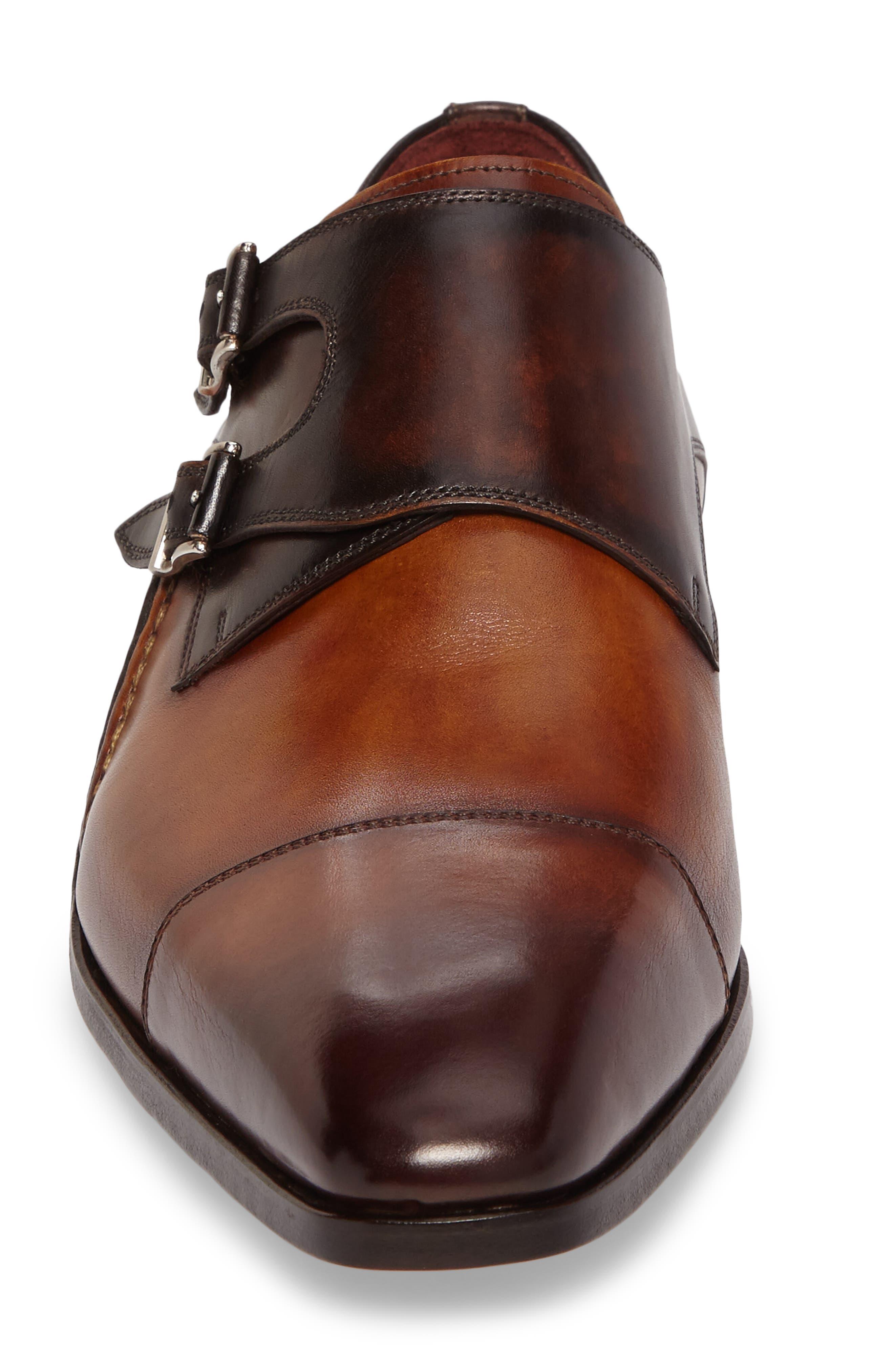 MAGNANNI, Ondara Double Monk Strap Shoe, Alternate thumbnail 4, color, CUERO/ BROWN LEATHER