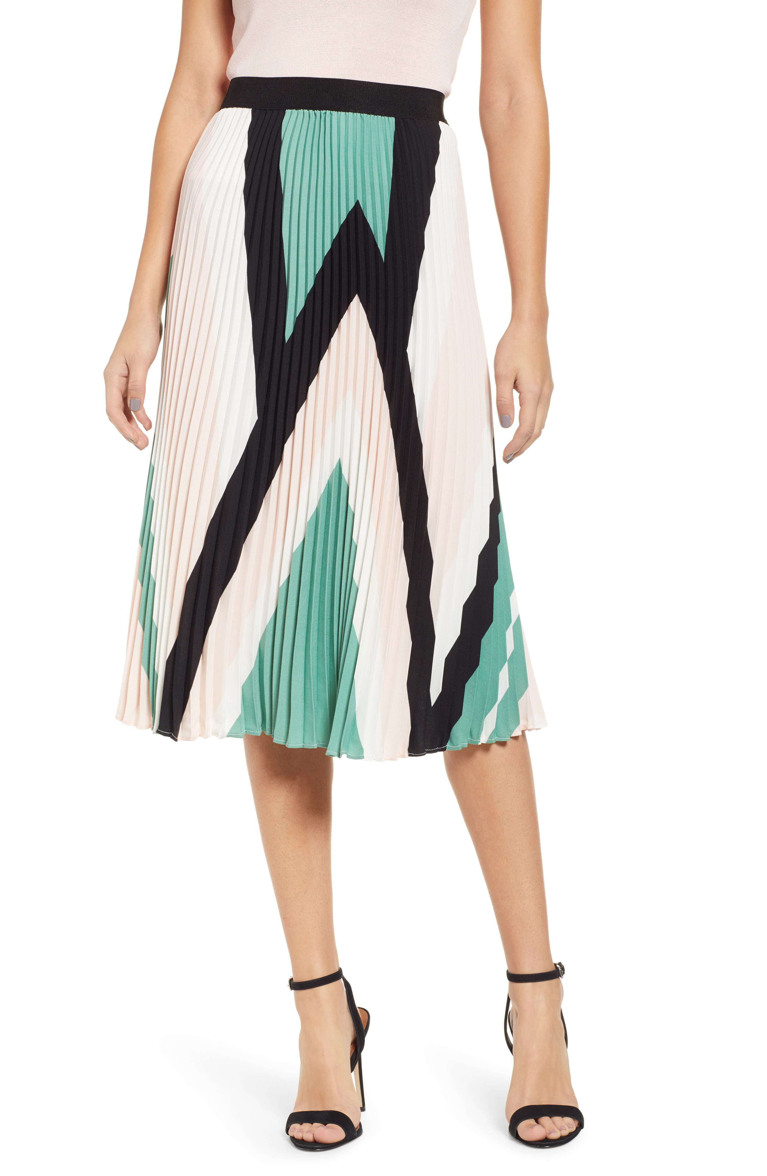 LEITH, Pleated Midi Skirt, Main thumbnail 1, color, PINK CHINTZ TRIANGLE STRIPE