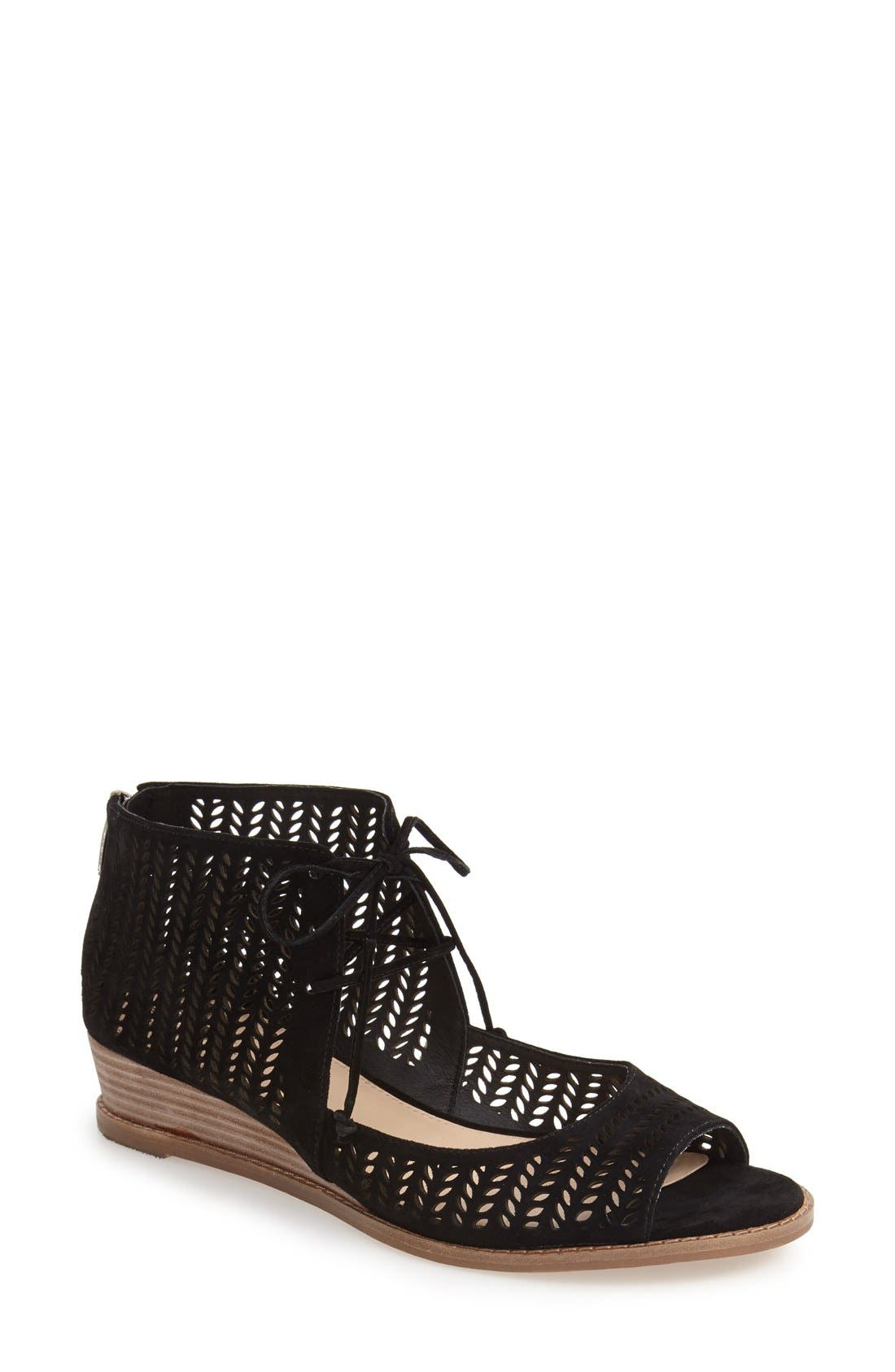 VINCE CAMUTO 'Remme' Cutout Lace-Up Wedge Sandal, Main, color, 001