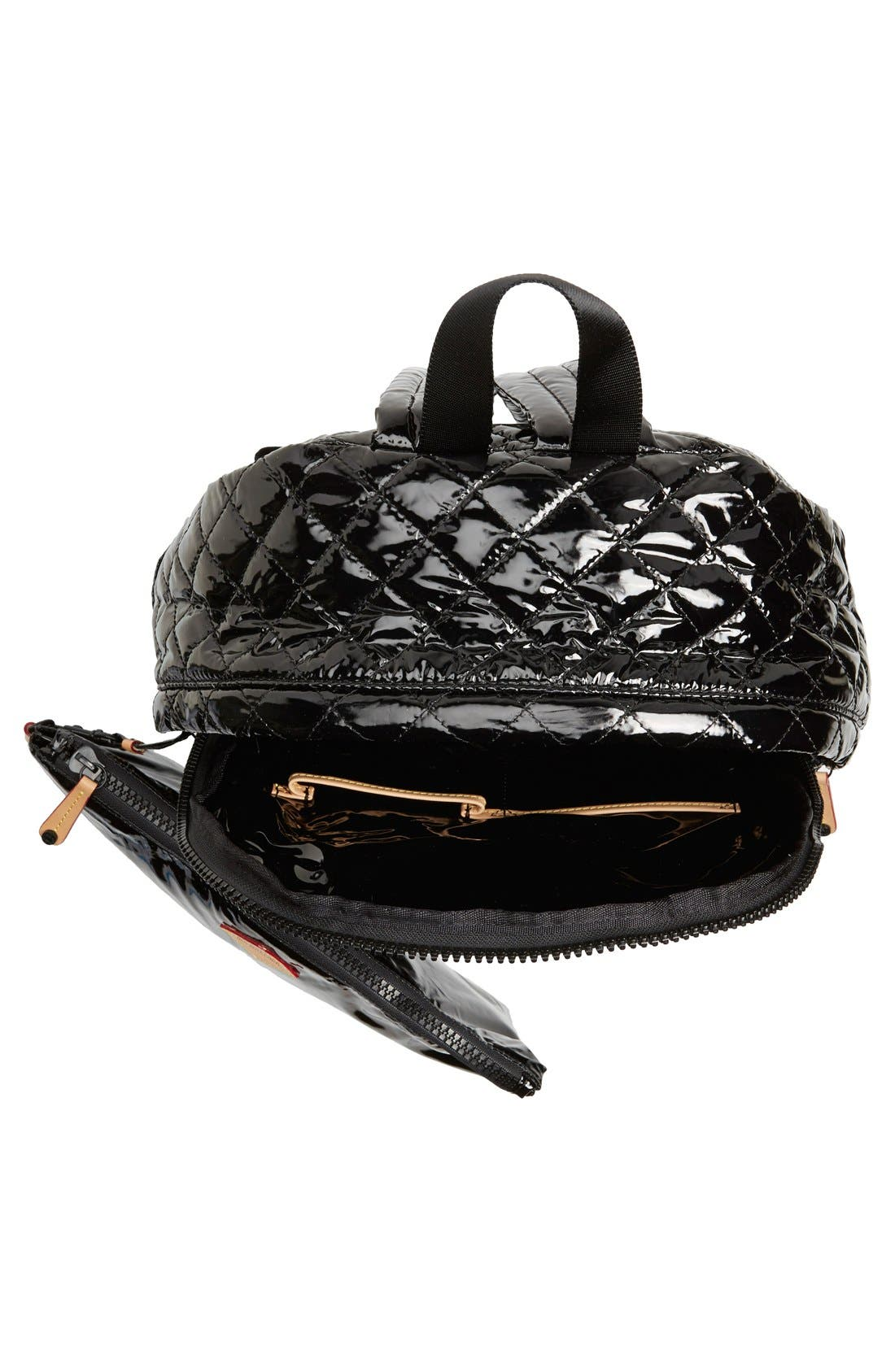 MZ WALLACE, Metro Backpack, Alternate thumbnail 6, color, BLACK LACQUER QUILTED