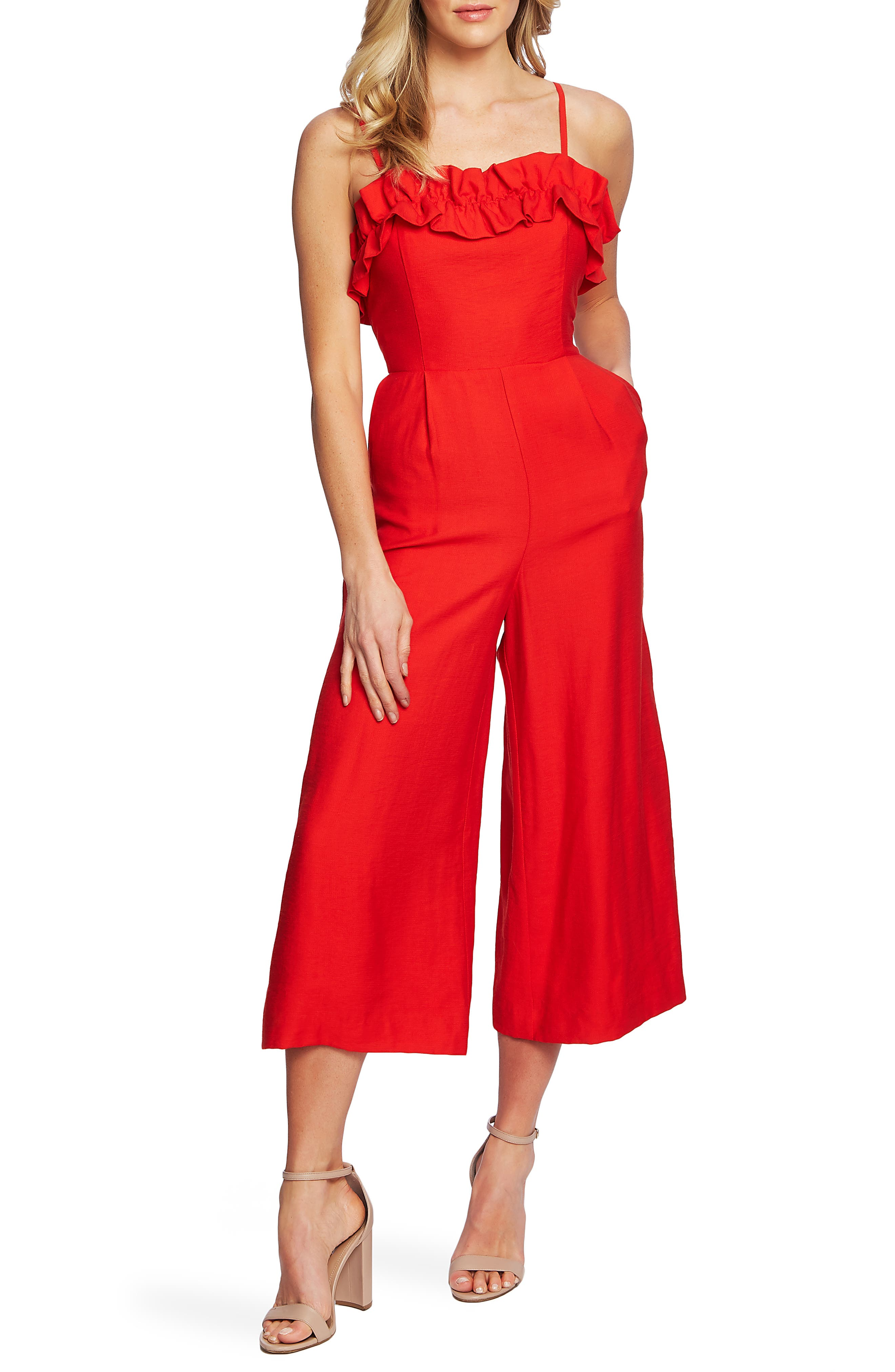 Cece Ruffled Neck Crop Jumpsuit, Red