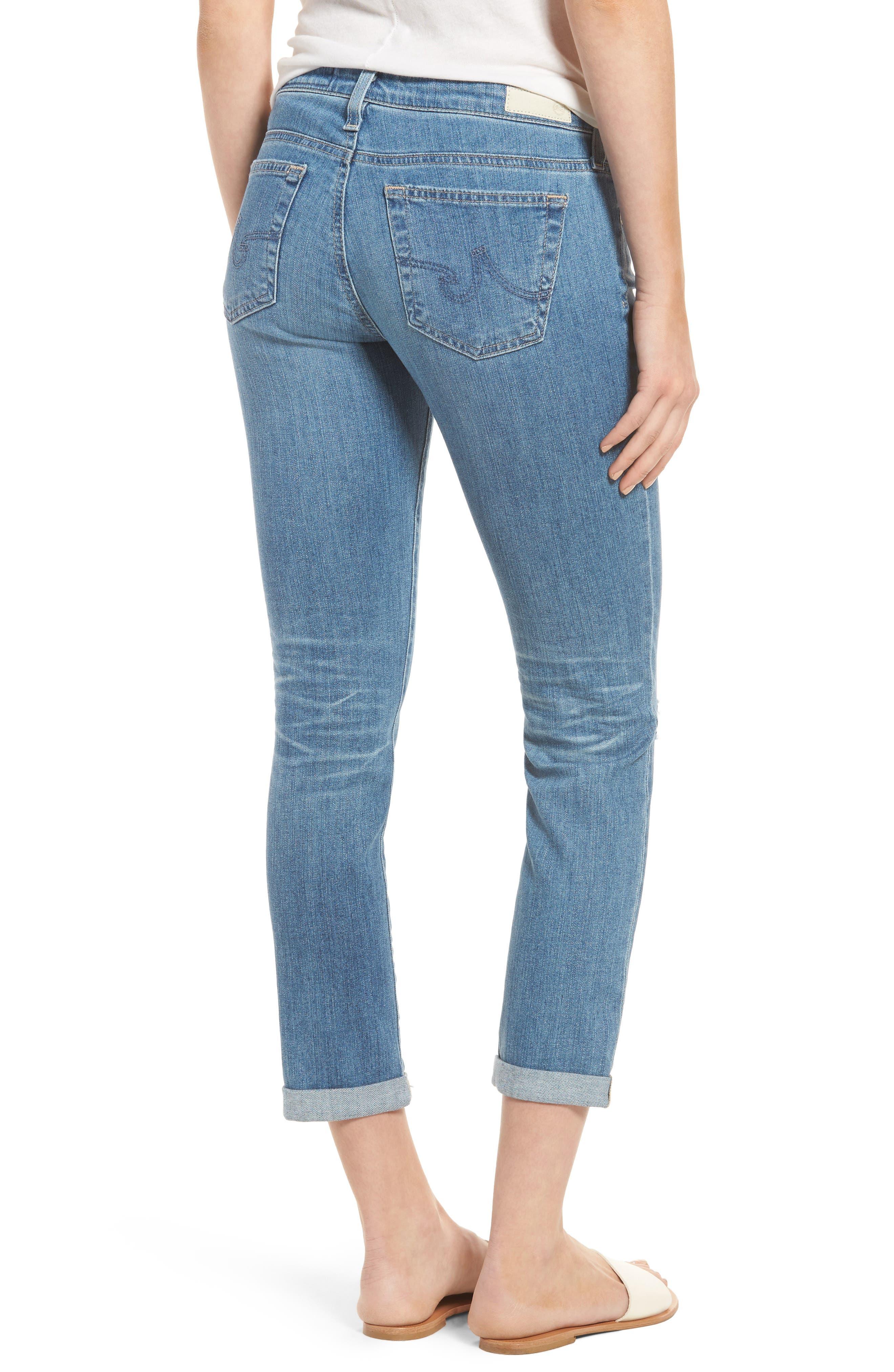 AG, 'Stilt' Distressed Roll Cuff Cigarette Jeans, Alternate thumbnail 2, color, 403