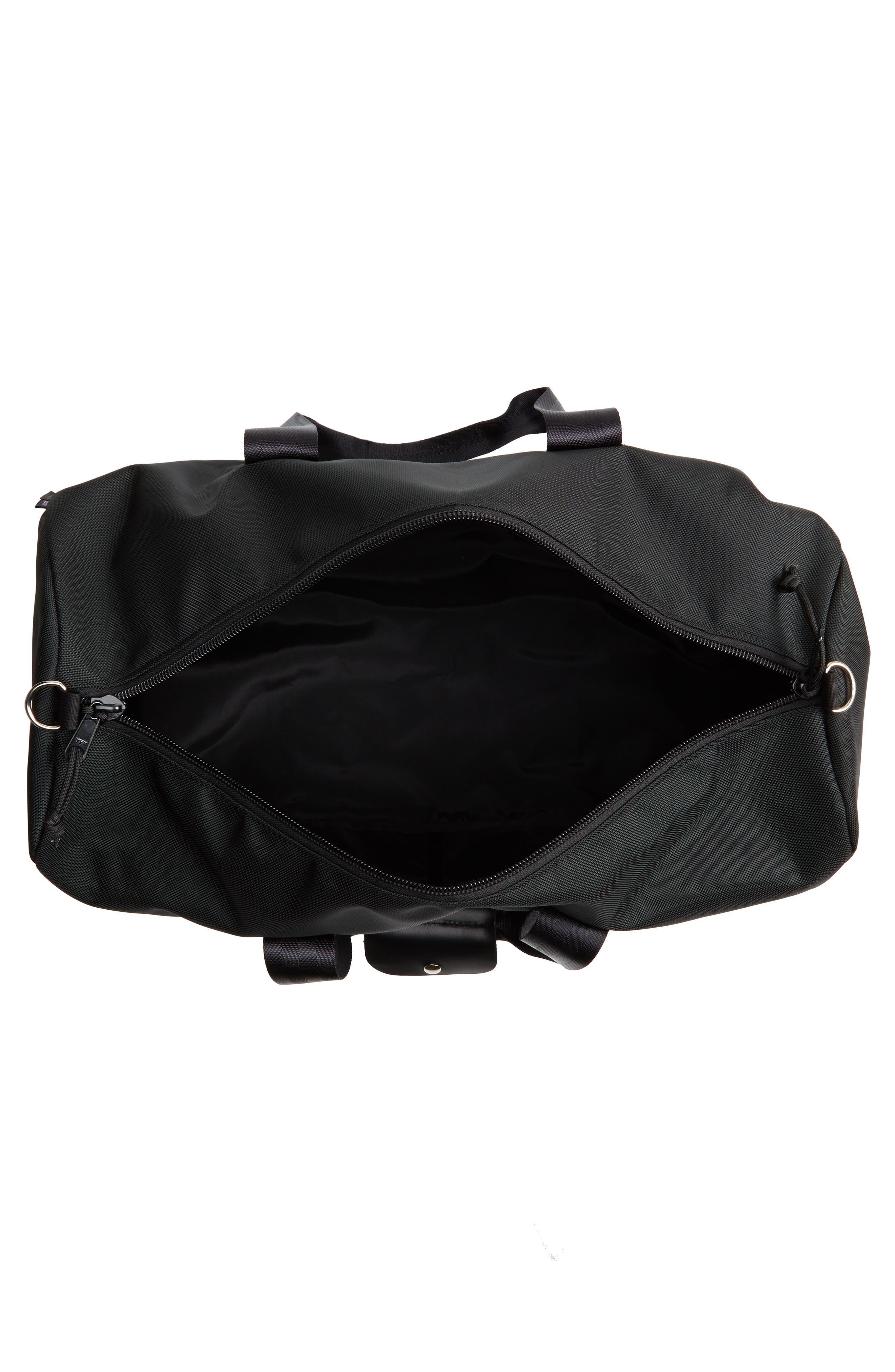 TOPO DESIGNS, Classic Duffle Bag, Alternate thumbnail 4, color, BALLISTIC BLACK/ BLACK LEATHER