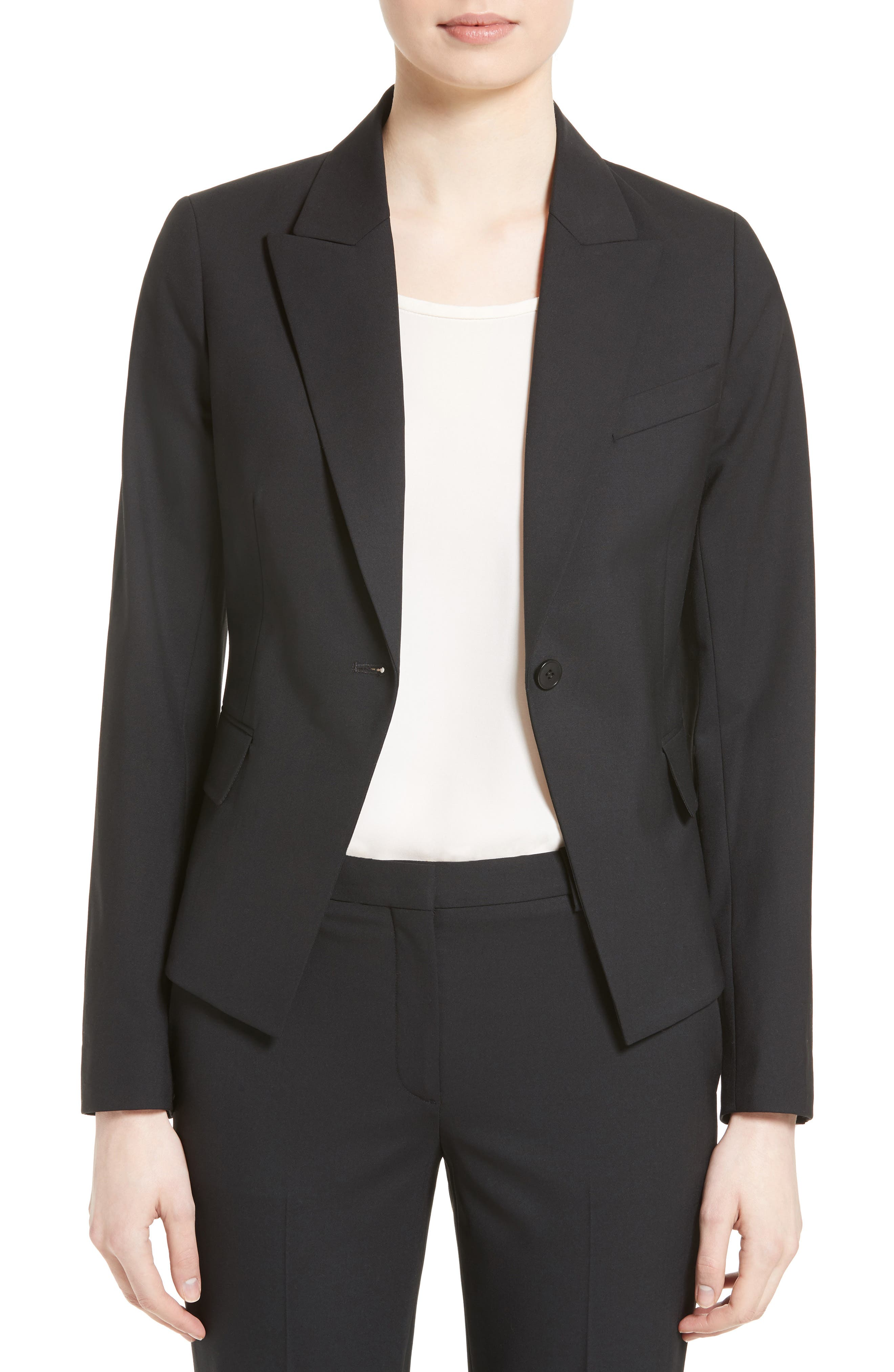 THEORY, Brince B Good Wool Suit Jacket, Main thumbnail 1, color, BLACK