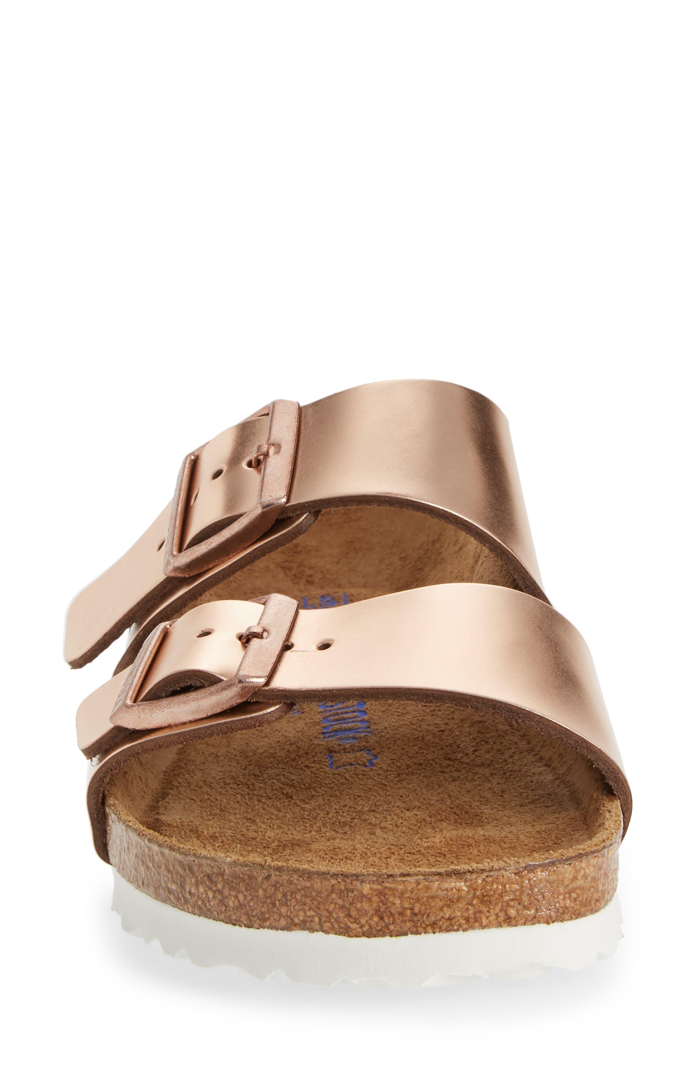 BIRKENSTOCK, 'Arizona' Soft Footbed Sandal, Alternate thumbnail 4, color, COPPER LEATHER
