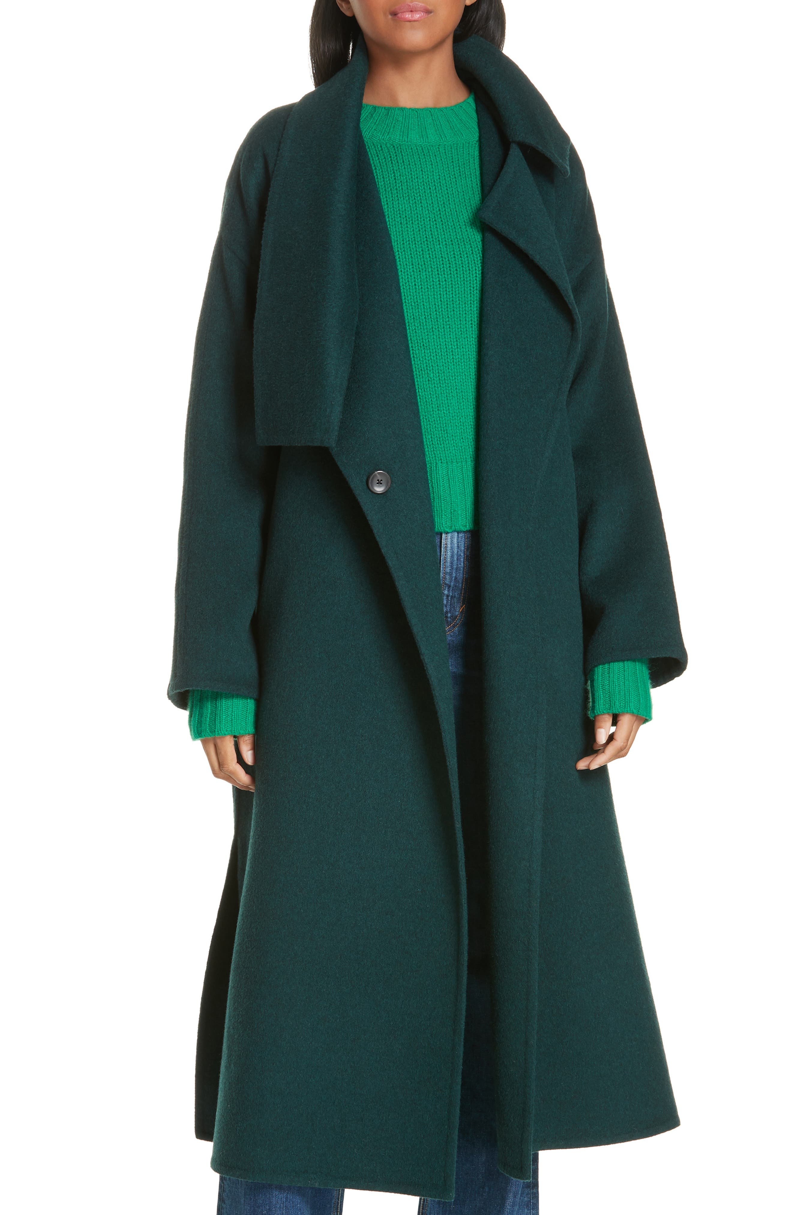 VINCE, Belted Wool Blend Cozy Coat, Main thumbnail 1, color, DARK PALM