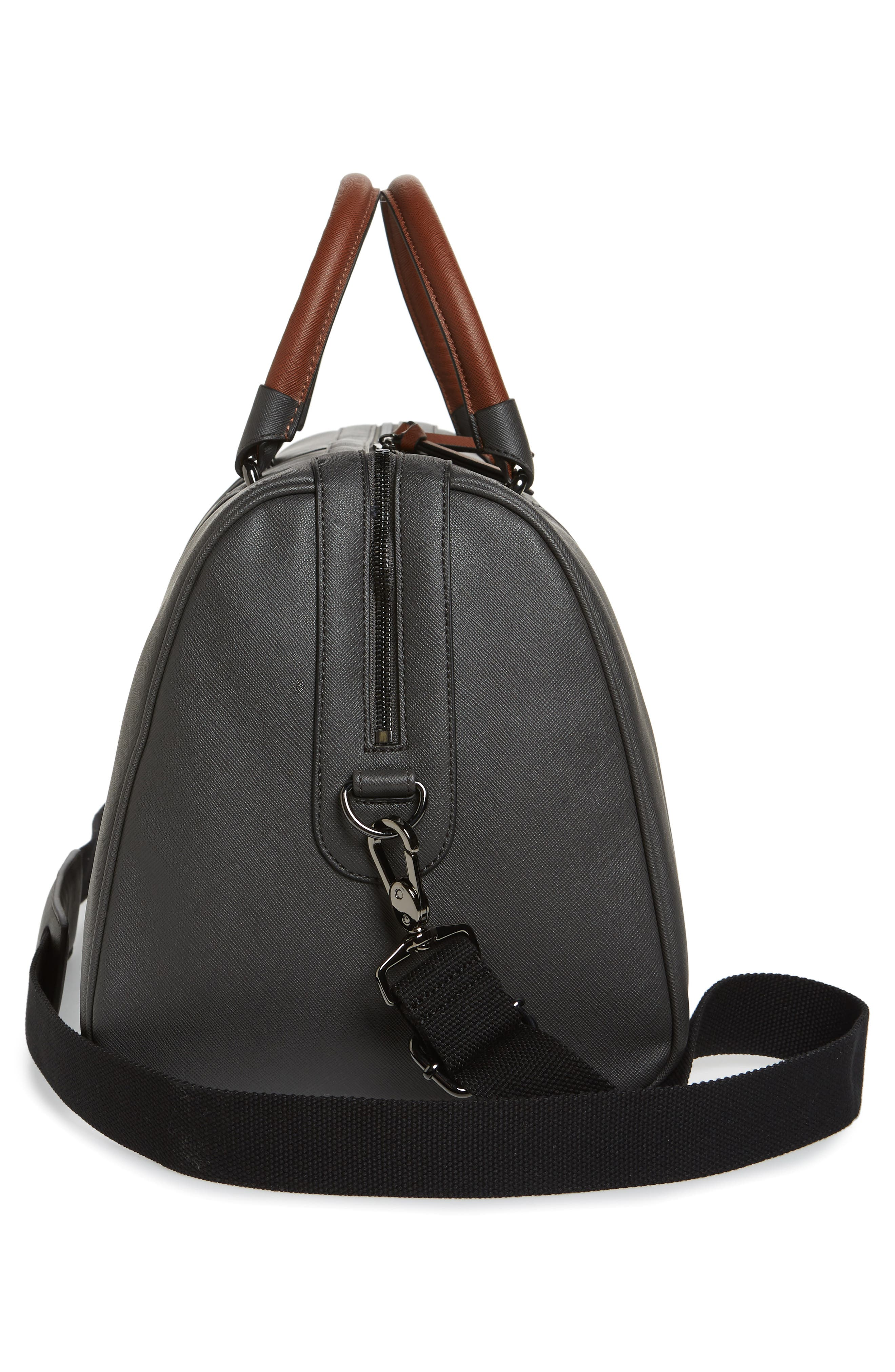 TED BAKER LONDON, Grankan Faux Leather Duffel Bag, Alternate thumbnail 5, color, 020