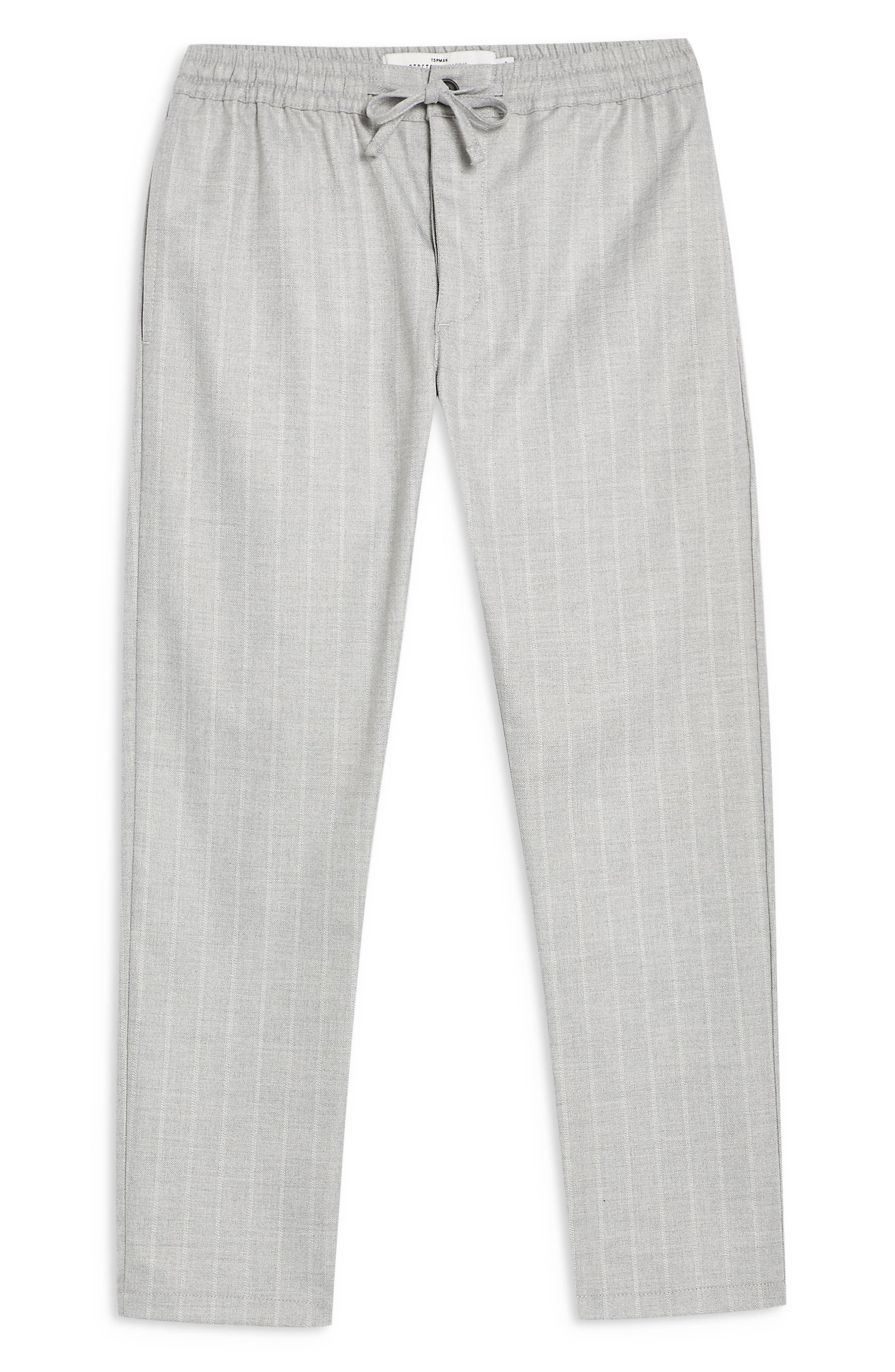 TOPMAN, Skinny Fit Stripe Crop Trousers, Alternate thumbnail 5, color, GREY