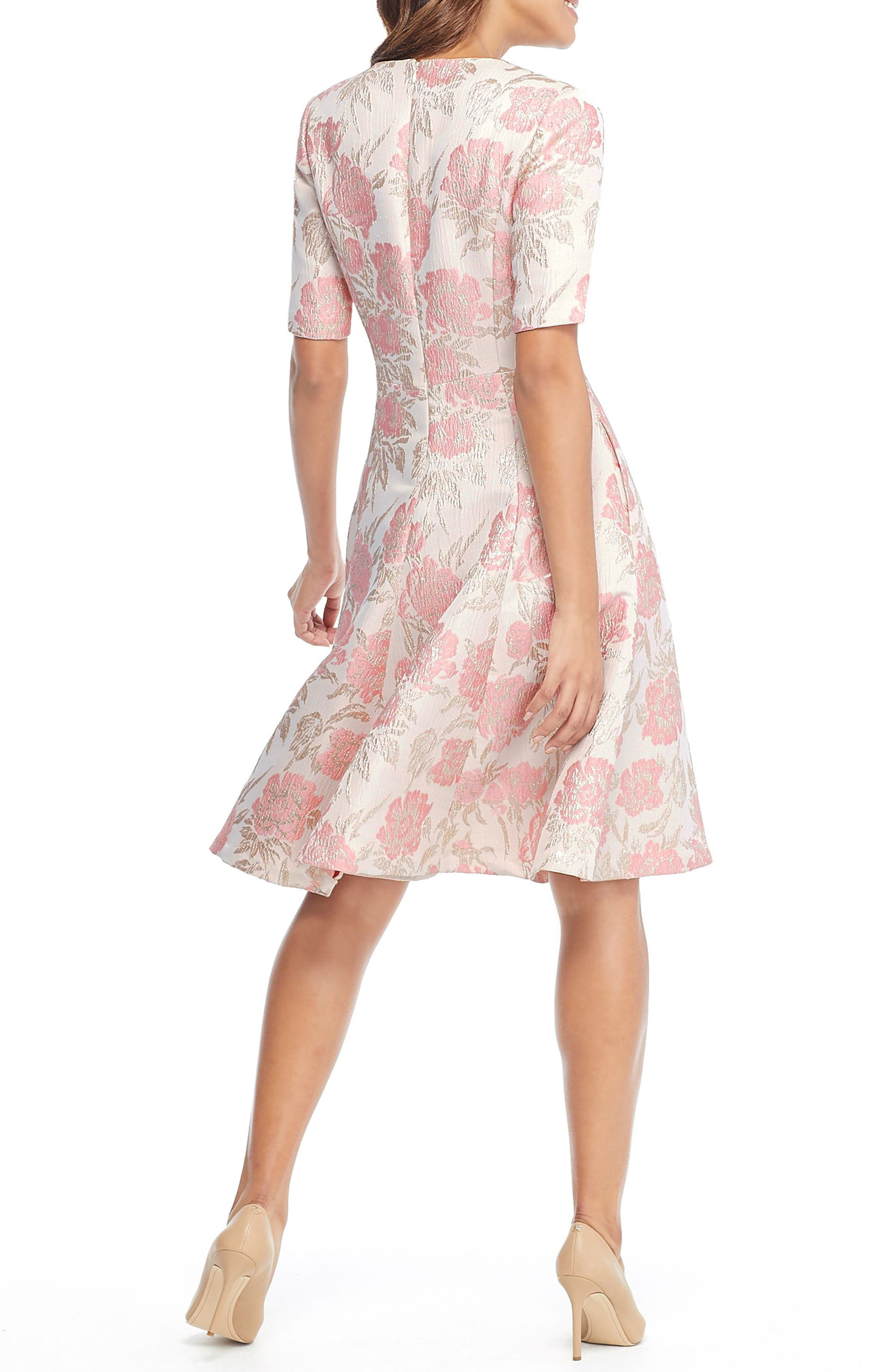 GAL MEETS GLAM COLLECTION, Adair Pink Passion Rose Jacquard Fit & Flare Dress, Alternate thumbnail 4, color, 685