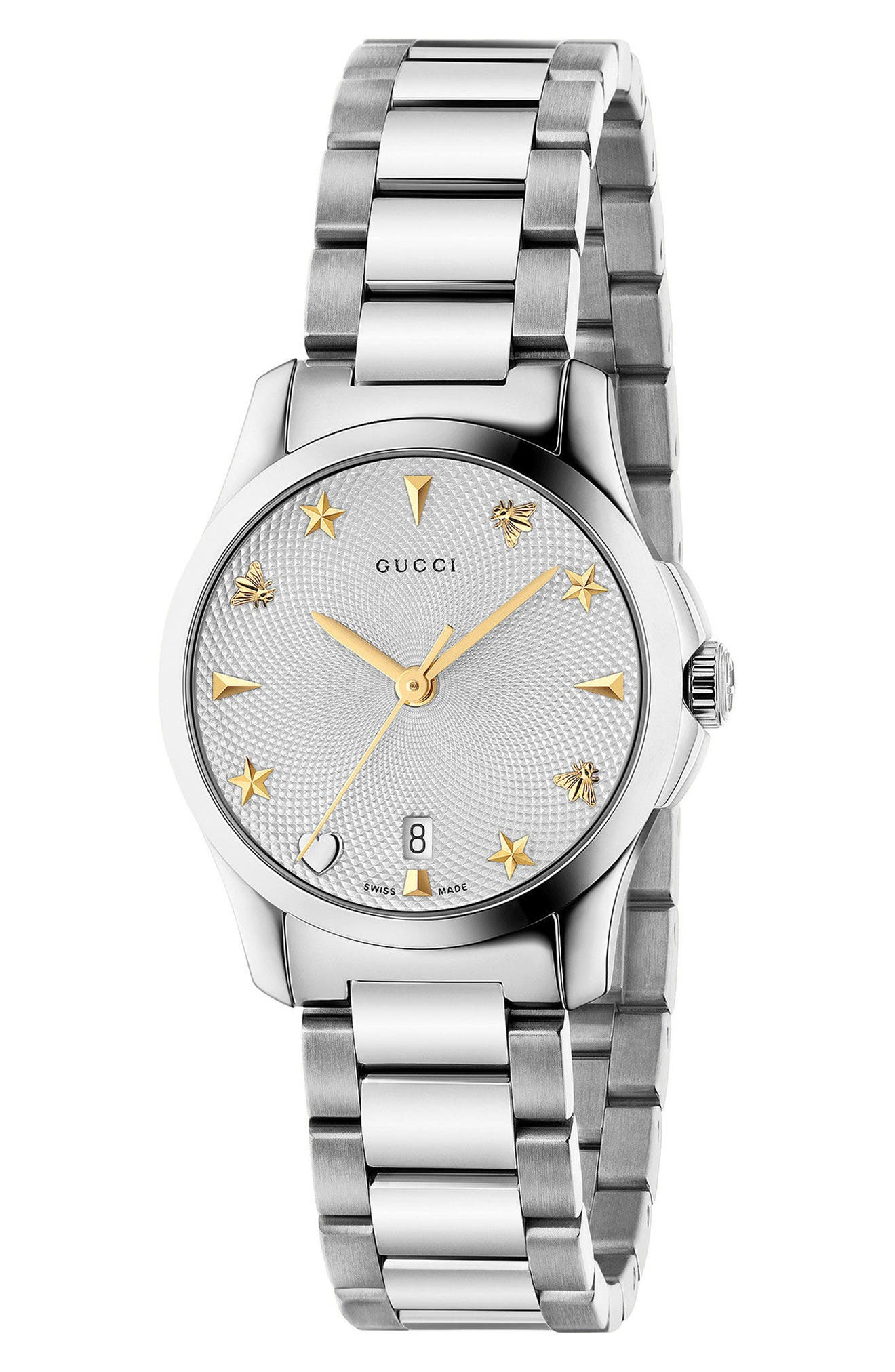 GUCCI, G-Timeless Bracelet Watch, 27mm, Main thumbnail 1, color, SILVER