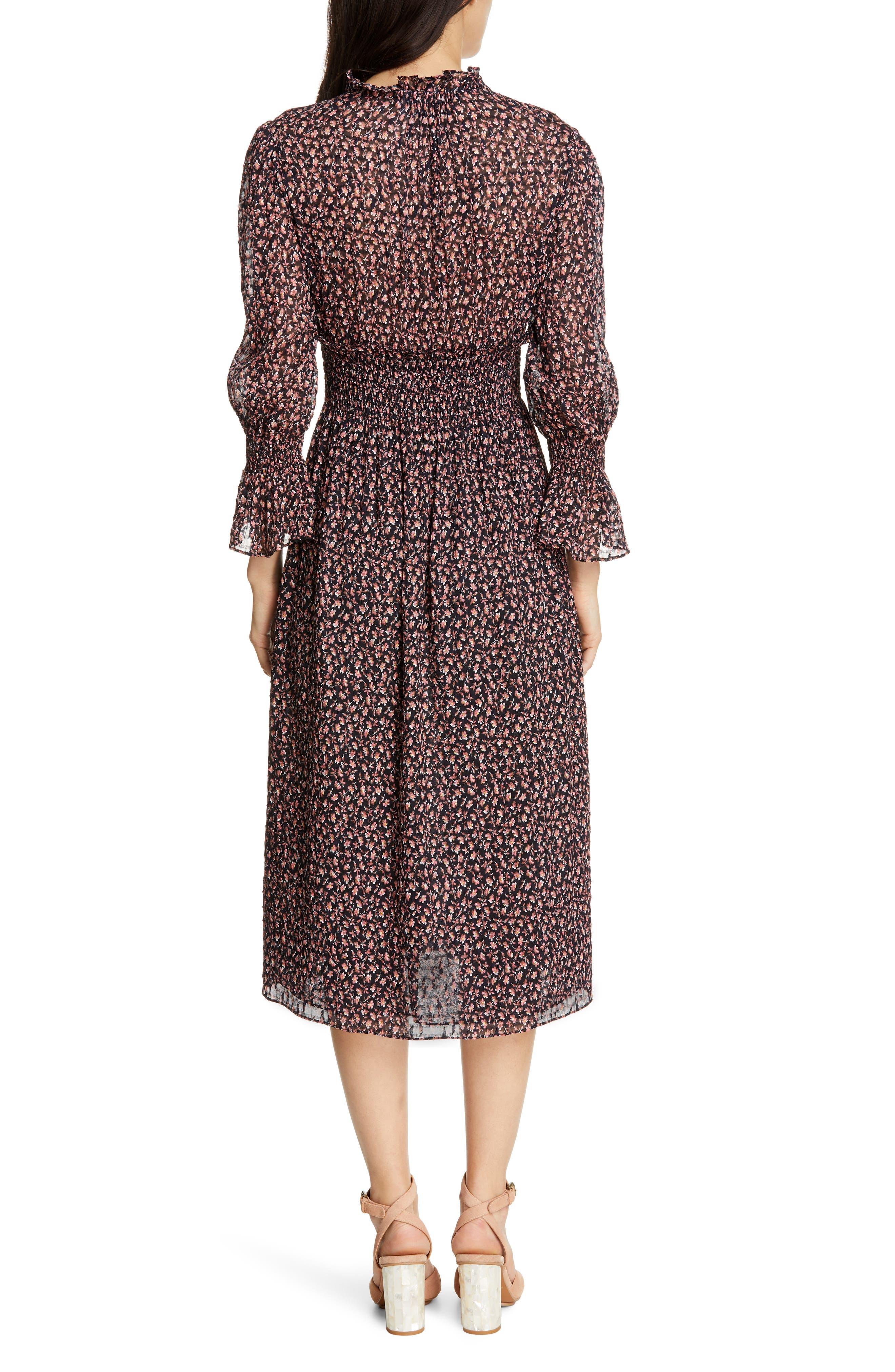 REBECCA TAYLOR, Floral Smock Detail Long Sleeve Silk & Cotton Dress, Alternate thumbnail 2, color, NAVY COMBO