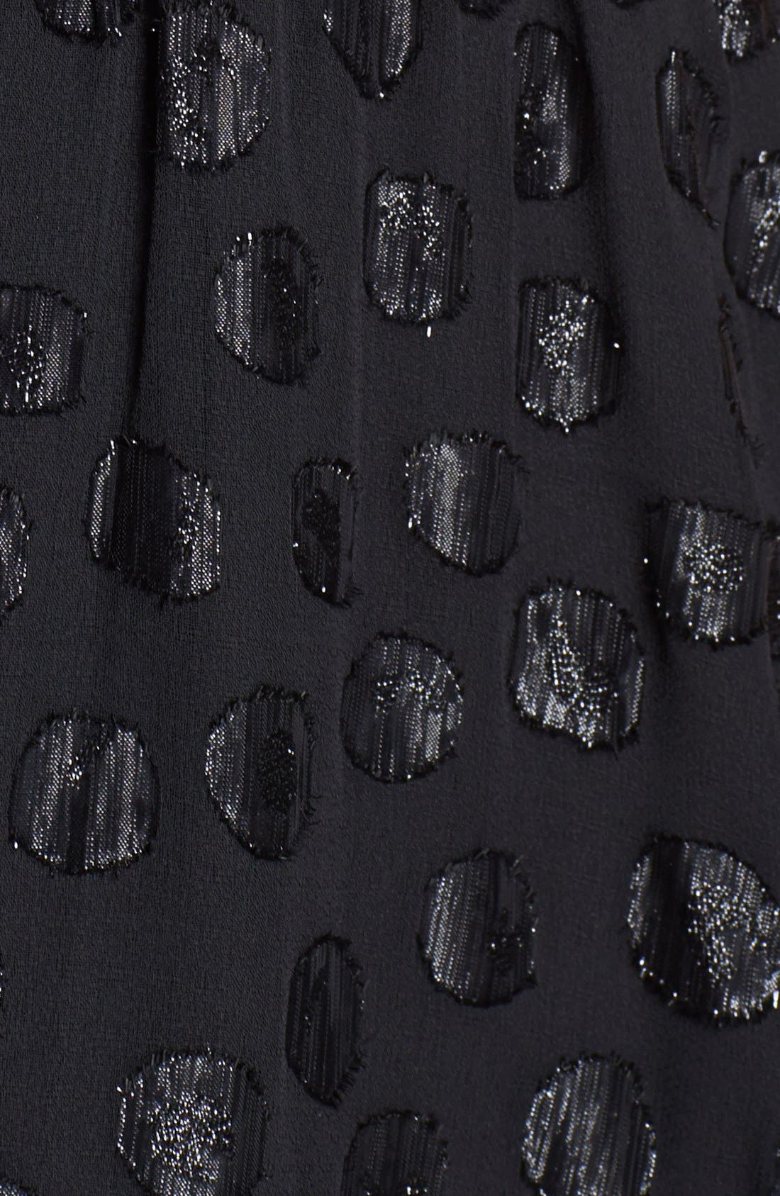 DRESS THE POPULATION, 'Evan' Metallic Dot Maxi Dress, Alternate thumbnail 3, color, 001
