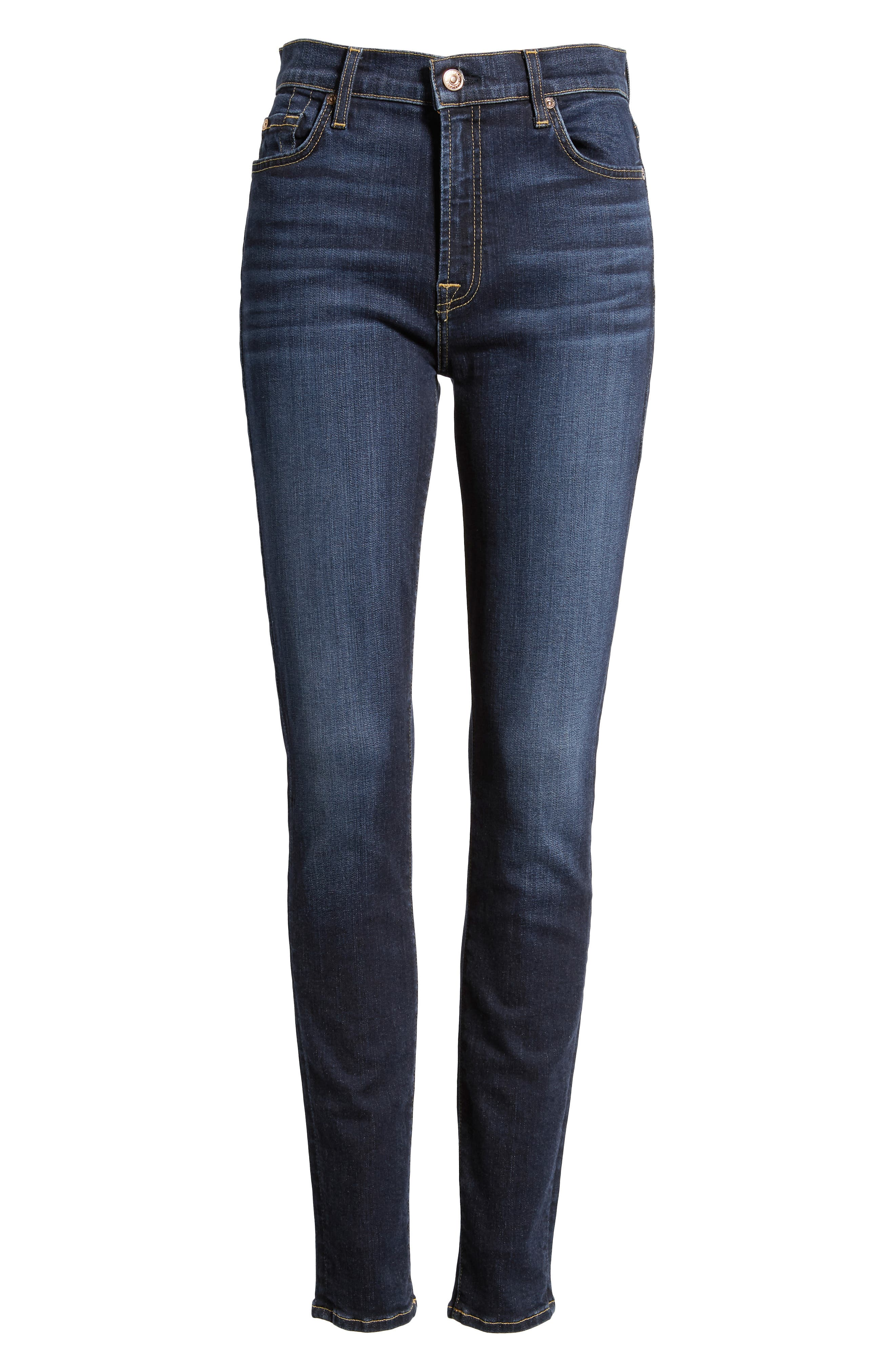 7 FOR ALL MANKIND<SUP>®</SUP>, The High Waist Skinny Jeans, Alternate thumbnail 7, color, AUTHENTIC FATE