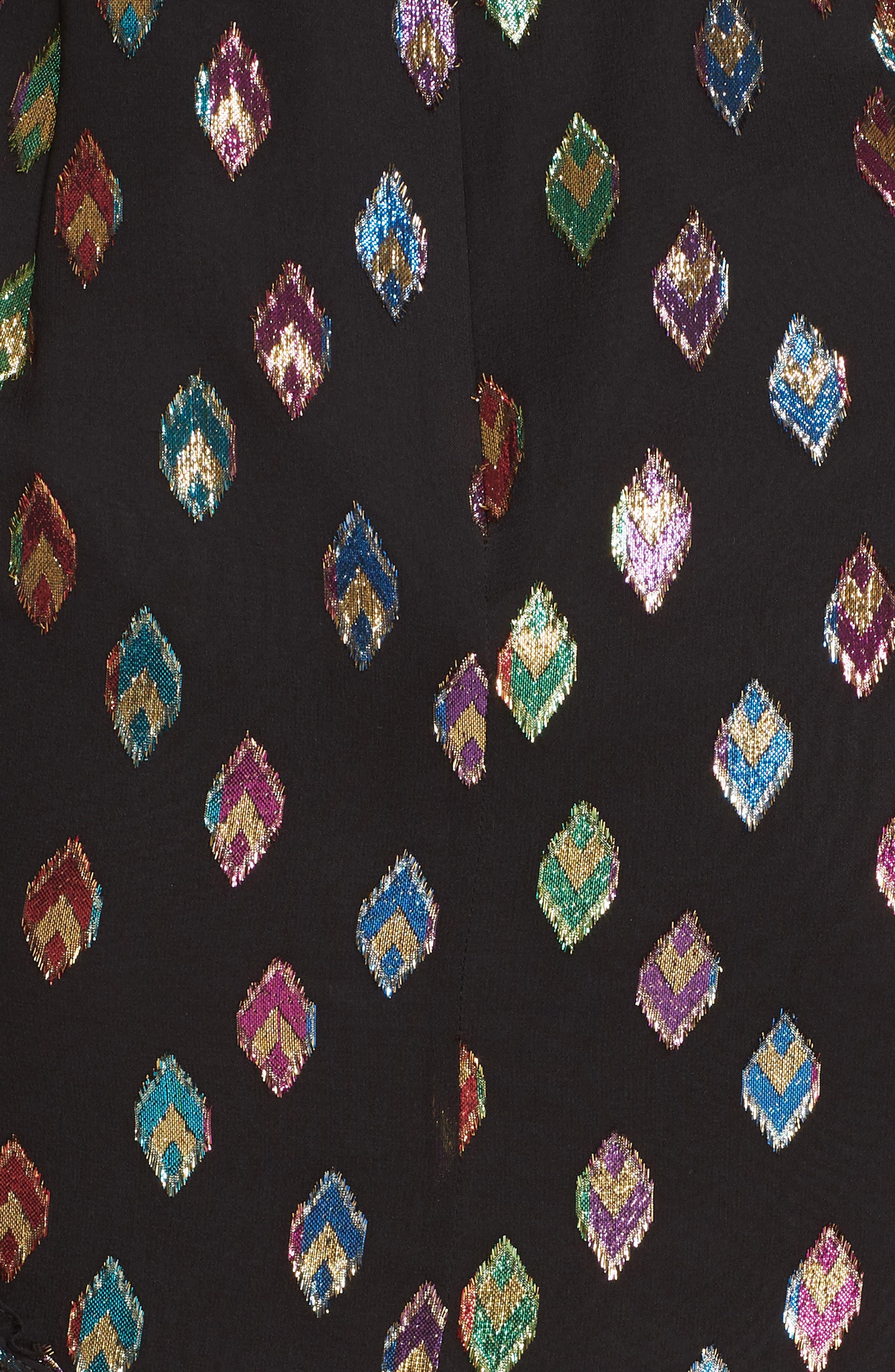 SALONI, Ruffle Hem Silk Blend Dress, Alternate thumbnail 5, color, 003