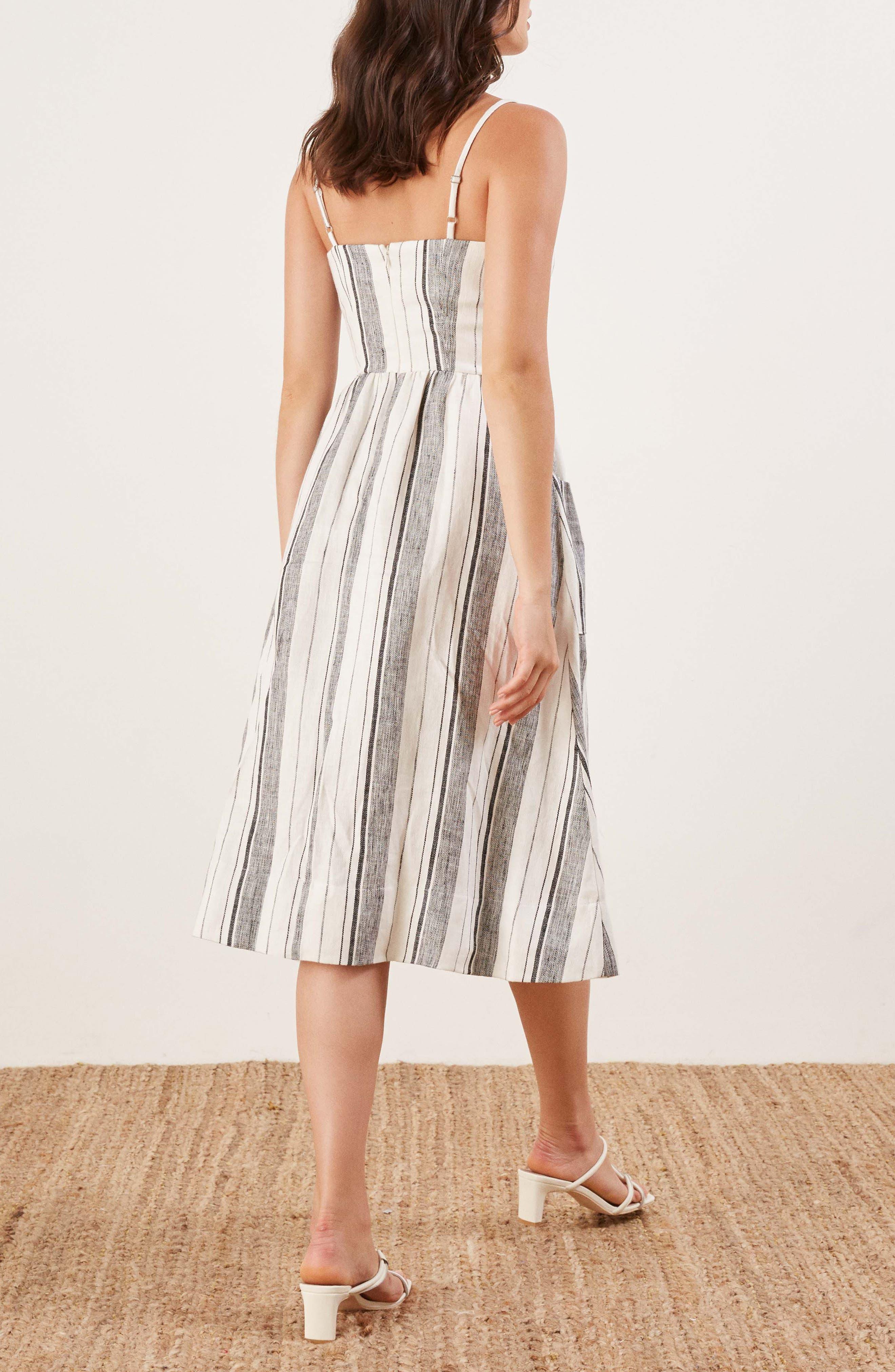 REFORMATION, Ellen Linen Midi Dress, Alternate thumbnail 3, color, 100