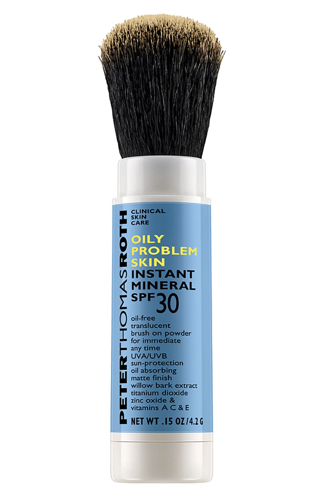 PETER THOMAS ROTH, Instant Mineral Oily Problem Skin Translucent Brush-On Powder SPF 30, Main thumbnail 1, color, 000