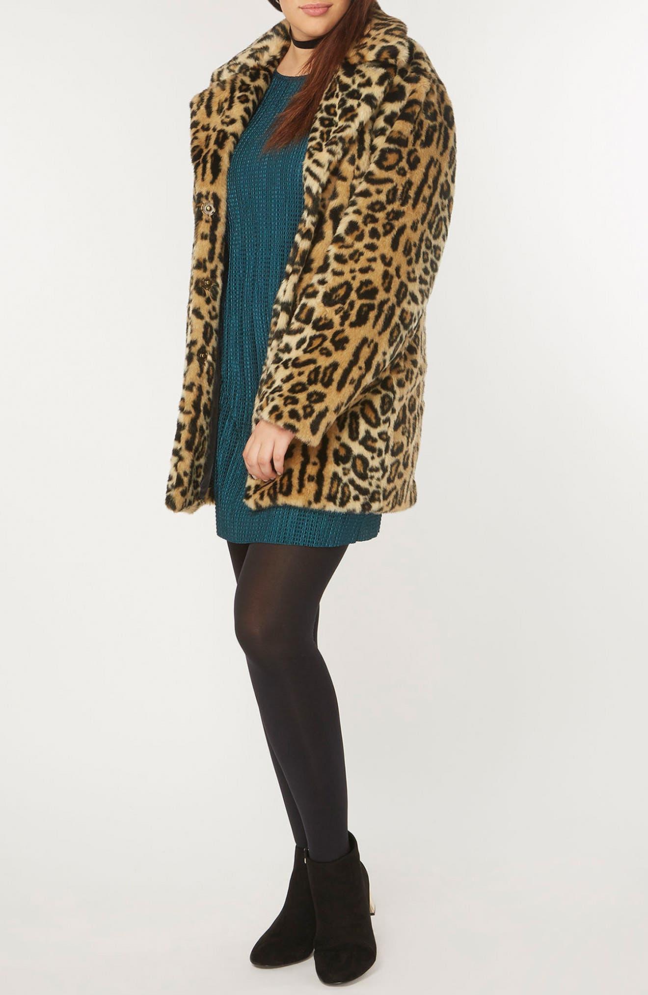EVANS, Leopard Print Faux Fur Coat, Alternate thumbnail 4, color, 200
