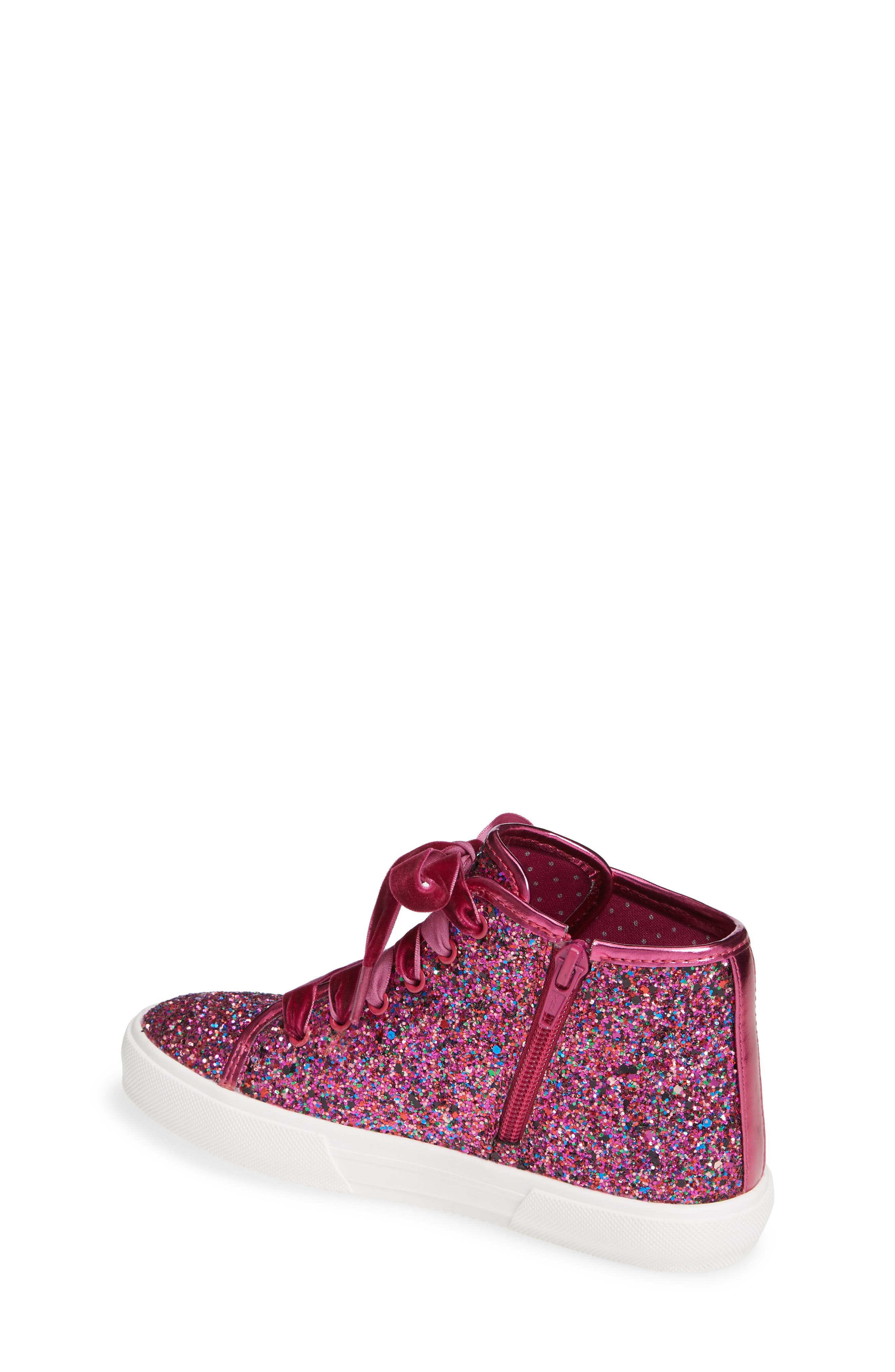 TUCKER + TATE, Skylar Glitter Sneaker, Alternate thumbnail 2, color, FUSCHIA MULTI GLITTER PU